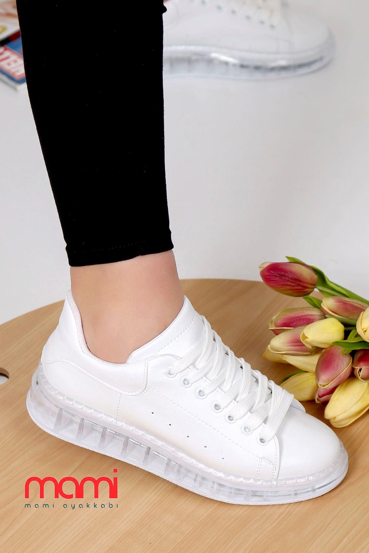 Örn-002 Spor Ayakkabı Beyaz Deri  Jel Taban
