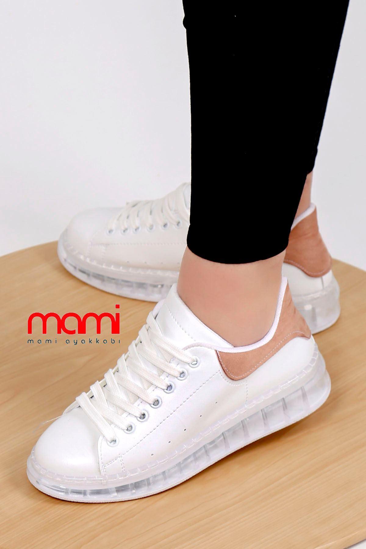 Örn-002 Spor Ayakkabı Beyaz Pudra Jel Taban