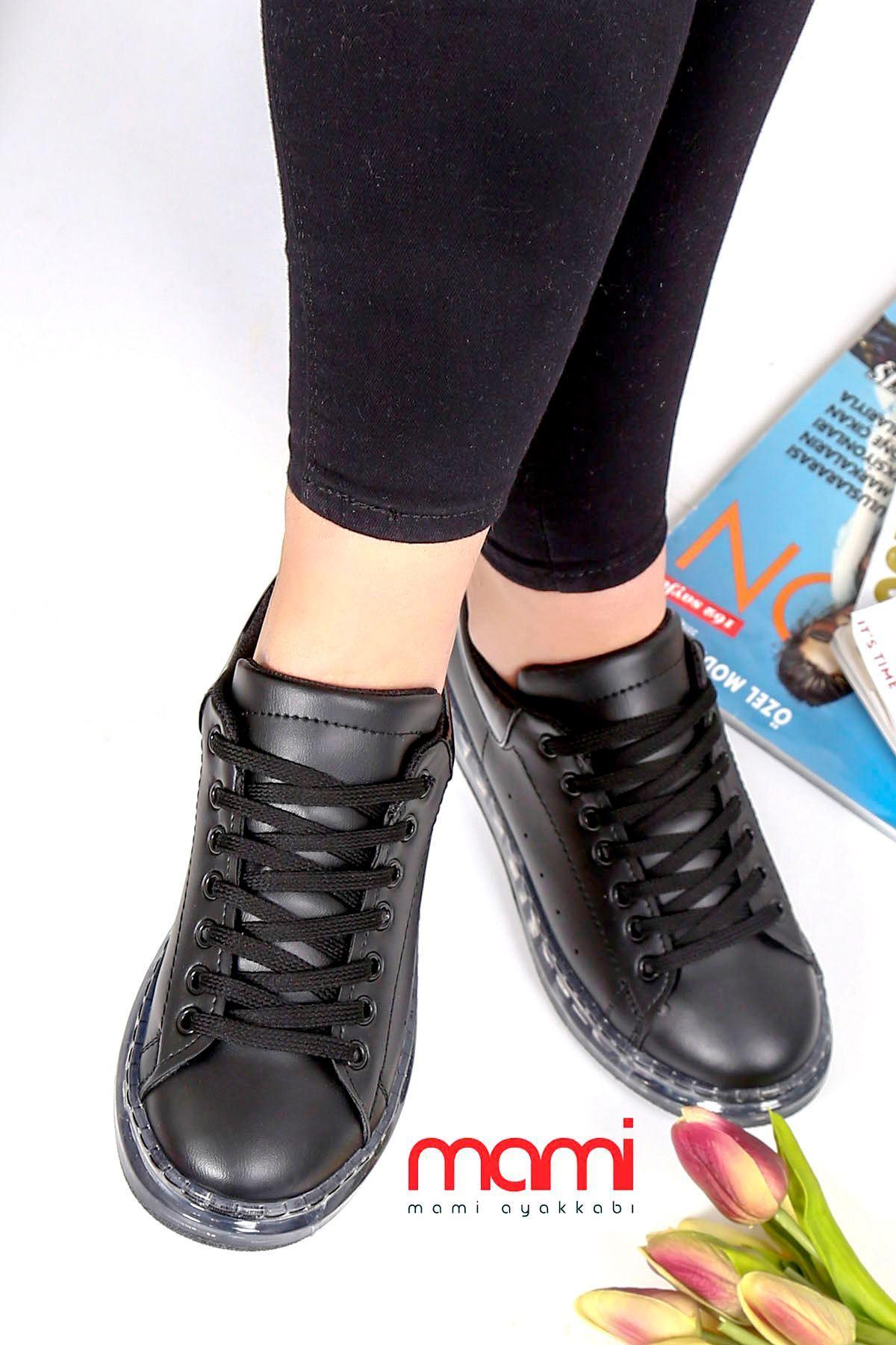 Örn-002 Spor Ayakkabı Siyah Deri Jel Taban