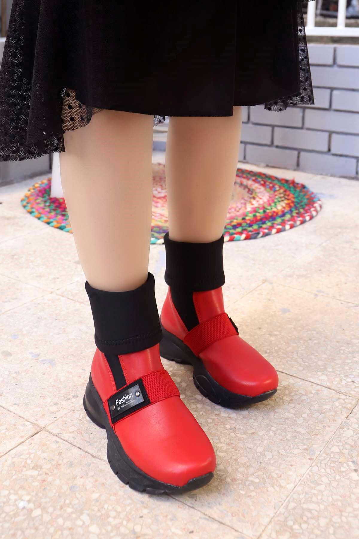 mami-303 Fashion Strec Corap Bot Kırmızı