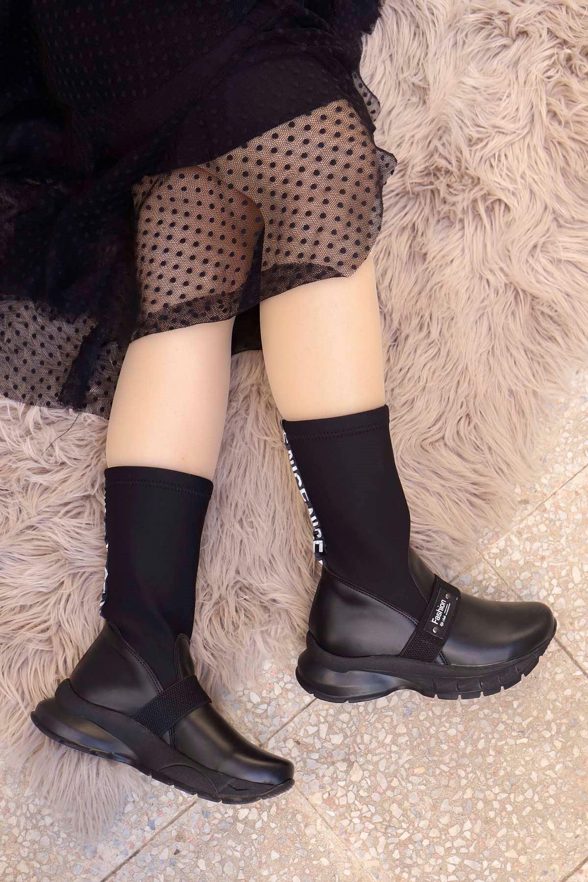 mami-303 Fashion Streç Çorap Bot-Siyah