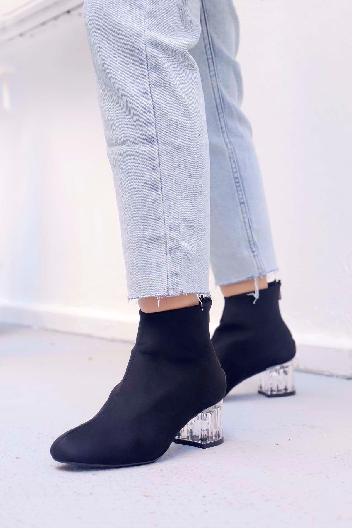 mami-Şeffaf Topuk Küt Burun Topuklu Bot Siyah Süet