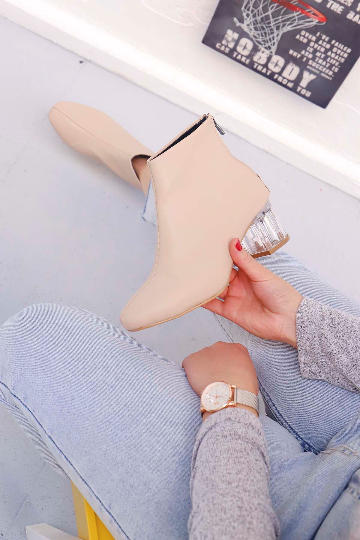 mami-Şeffaf Topuk Küt Burun Topuklu Bot Nut Deri