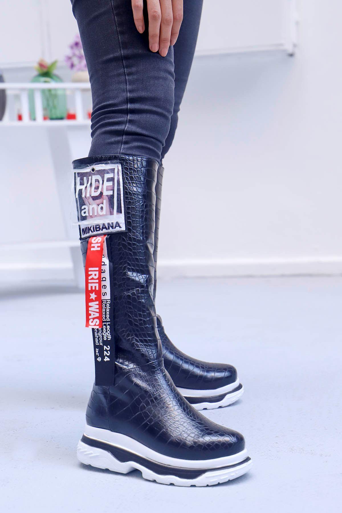 mami-Tarzın Diz Altı Çizme Siyah Kroko