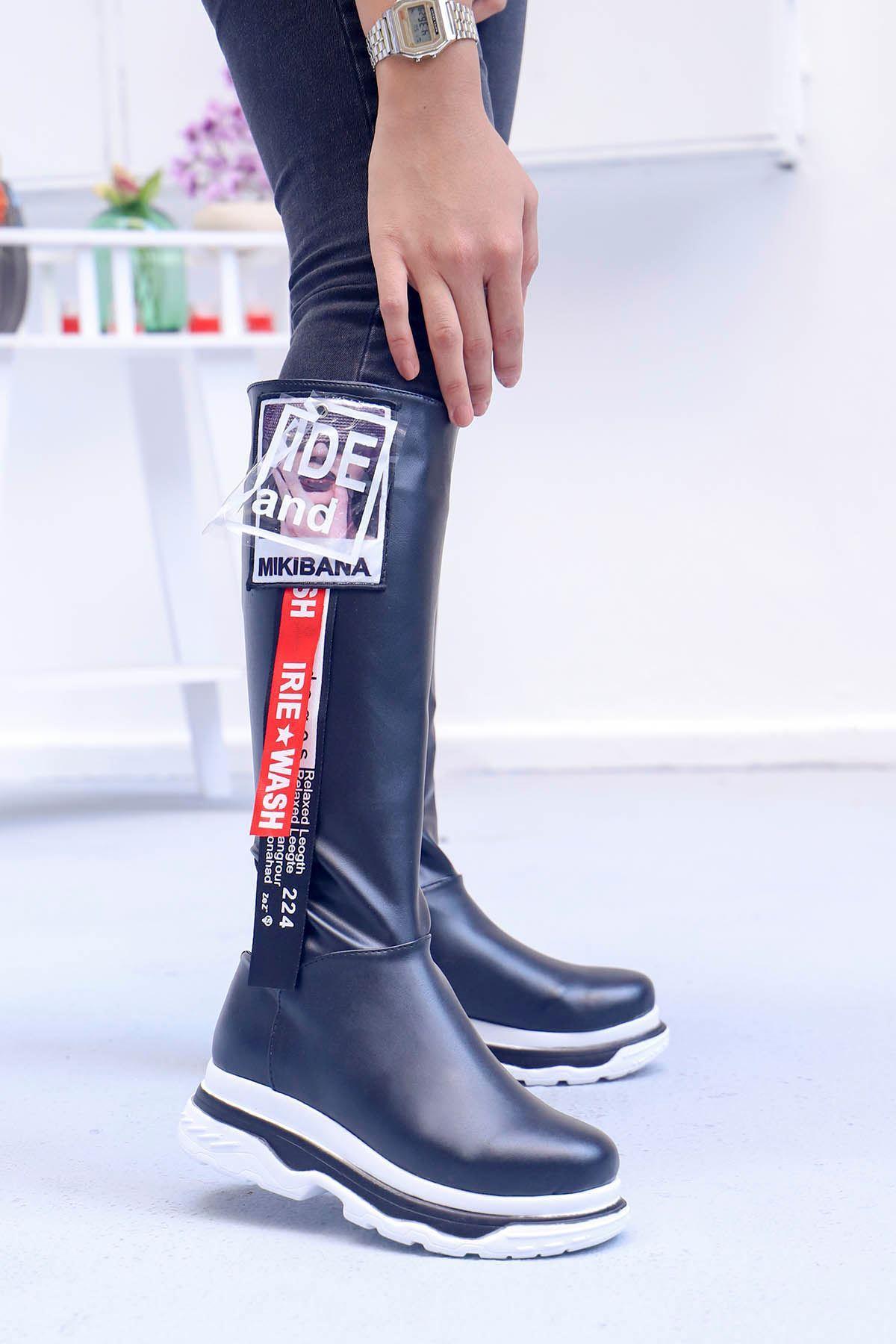 mami-Tarzın Diz Altı Çizme Siyah Deri