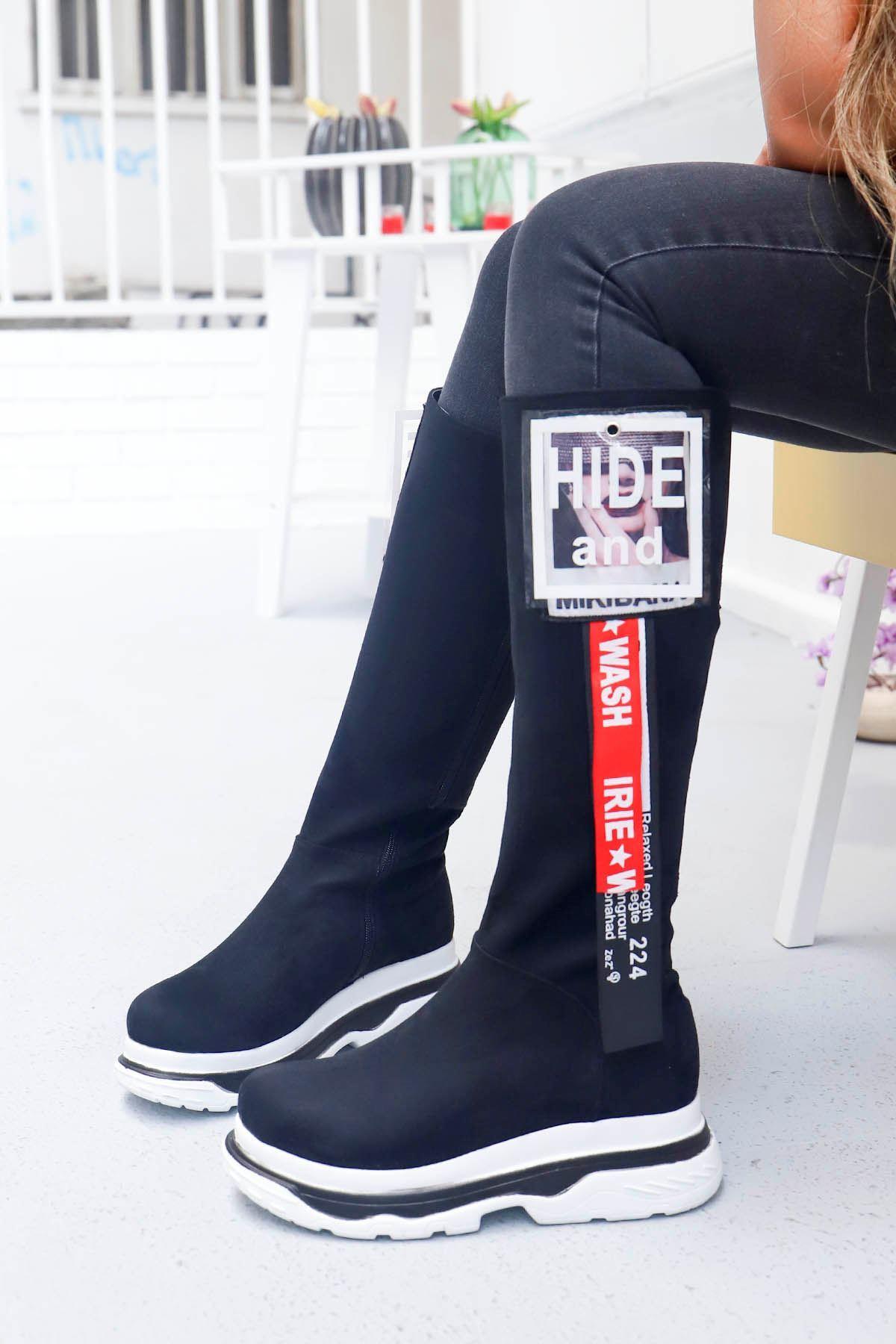 mami-Tarzın Diz Altı Çizme Siyah Süet