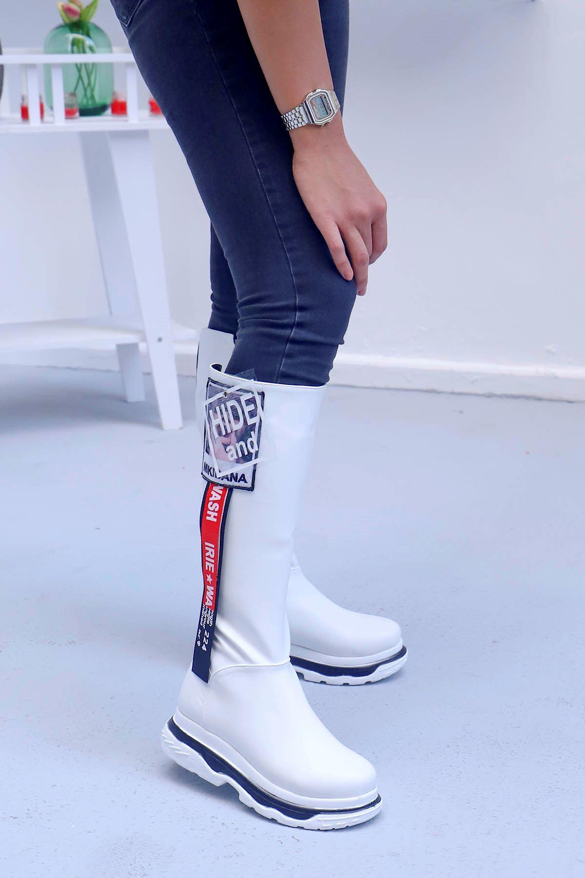 mami-Tarzın Diz Altı Çizme Beyaz Deri