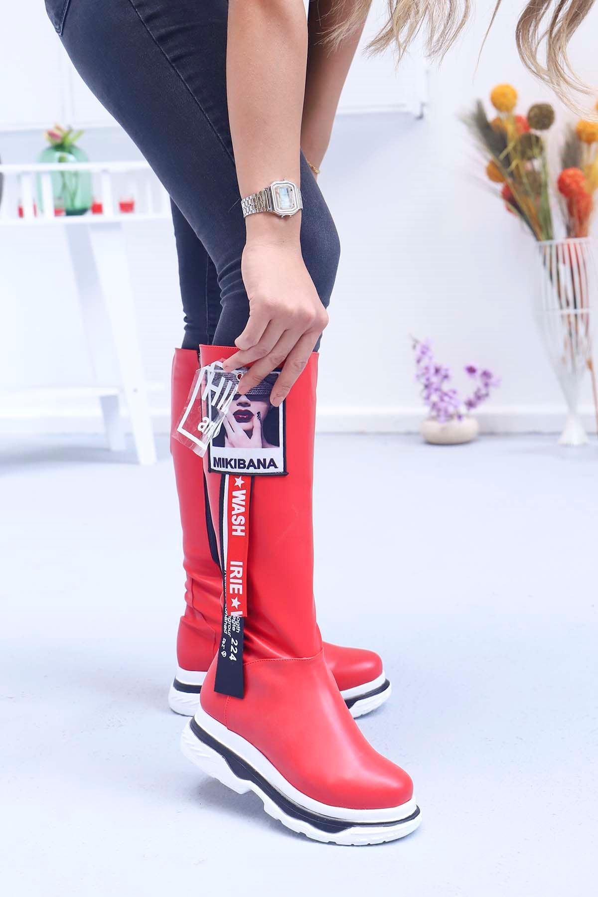 mami-Tarzın Diz Altı Çizme Kırmızı Deri