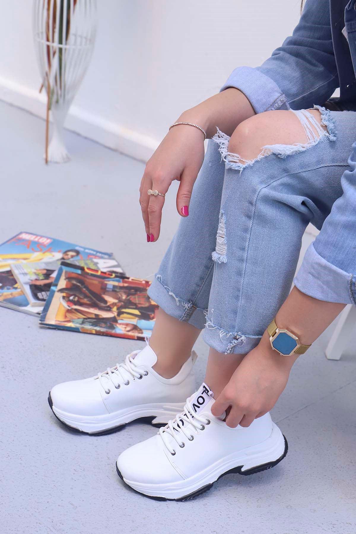 Frm-501 Love Spor Ayakkabı Beyaz Deri