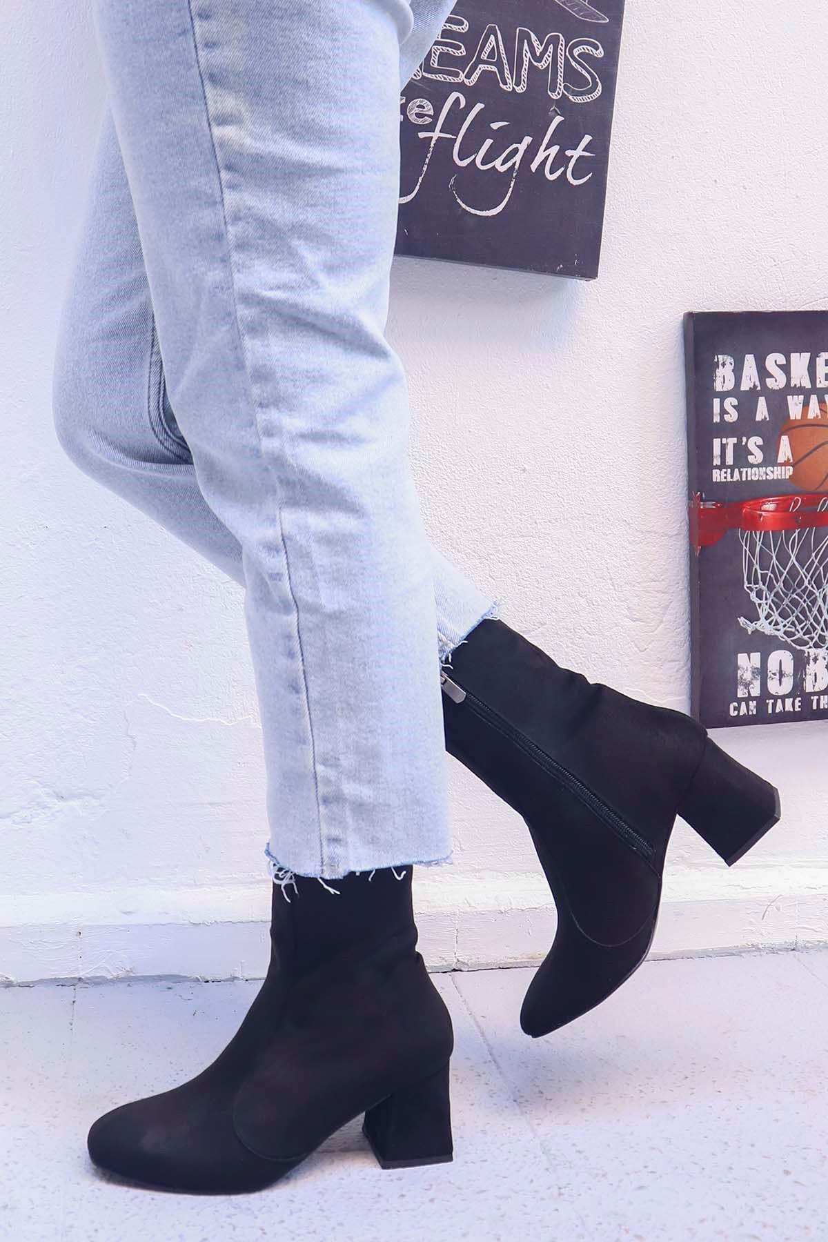 Bellano-Topuklu Bot Siyah Süet