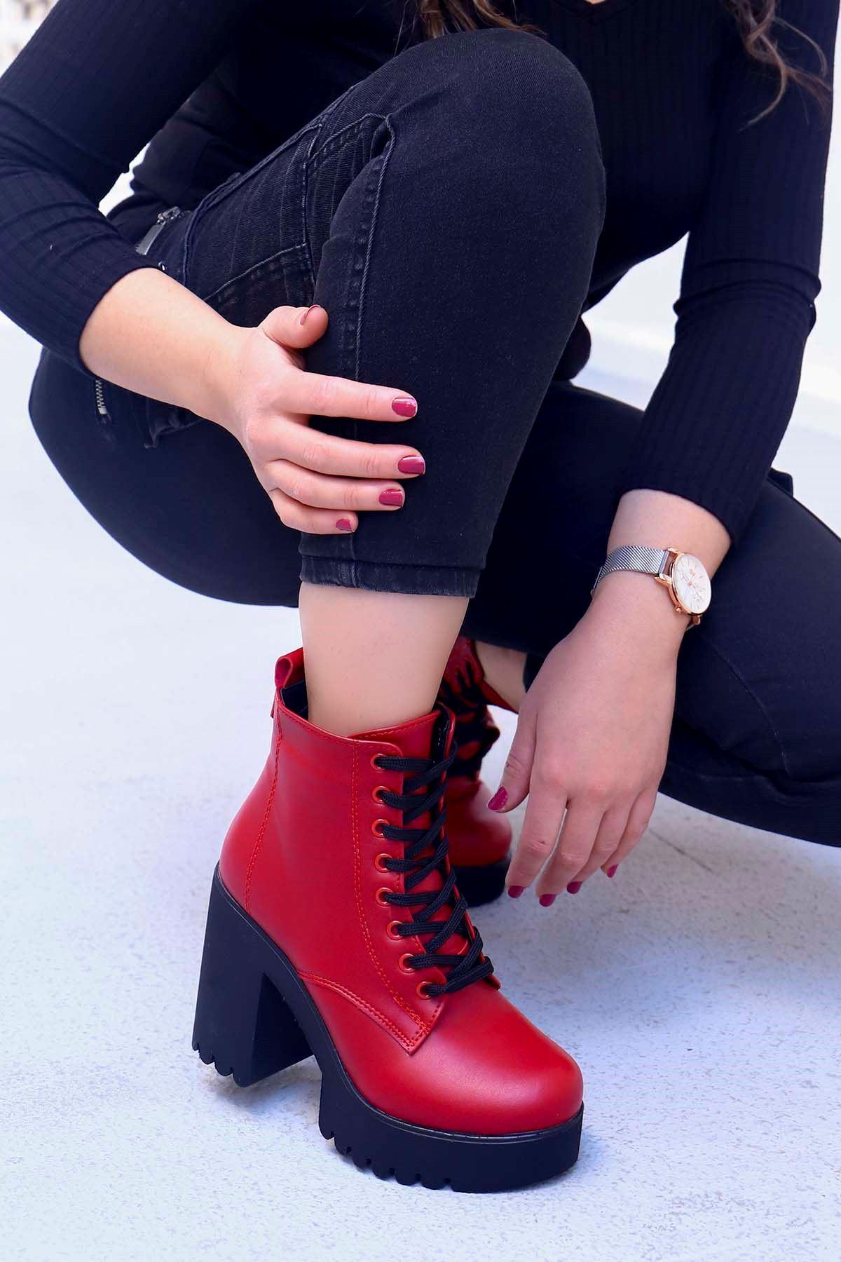 My-555 Bağlı Topuklu Bot Kırmızı Deri