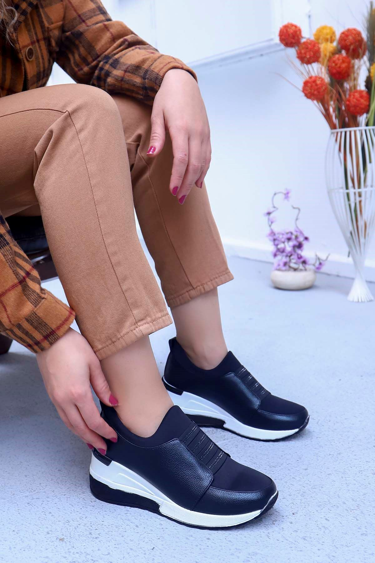 mami-7730 Dolgu Taban Taş Detay Ayakkabı Siyah