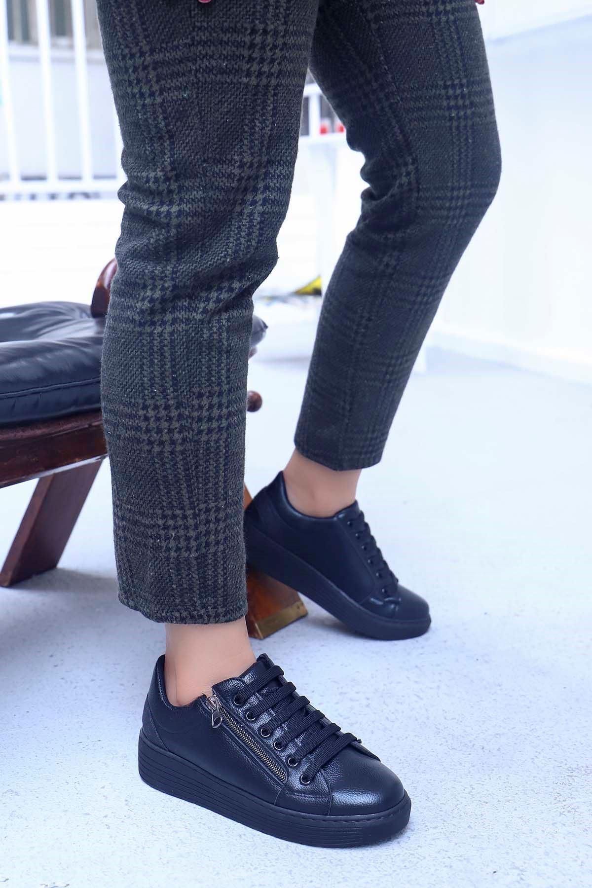 mami-4110 Spor Ayakkabı Fermuar Detay Siyah Deri