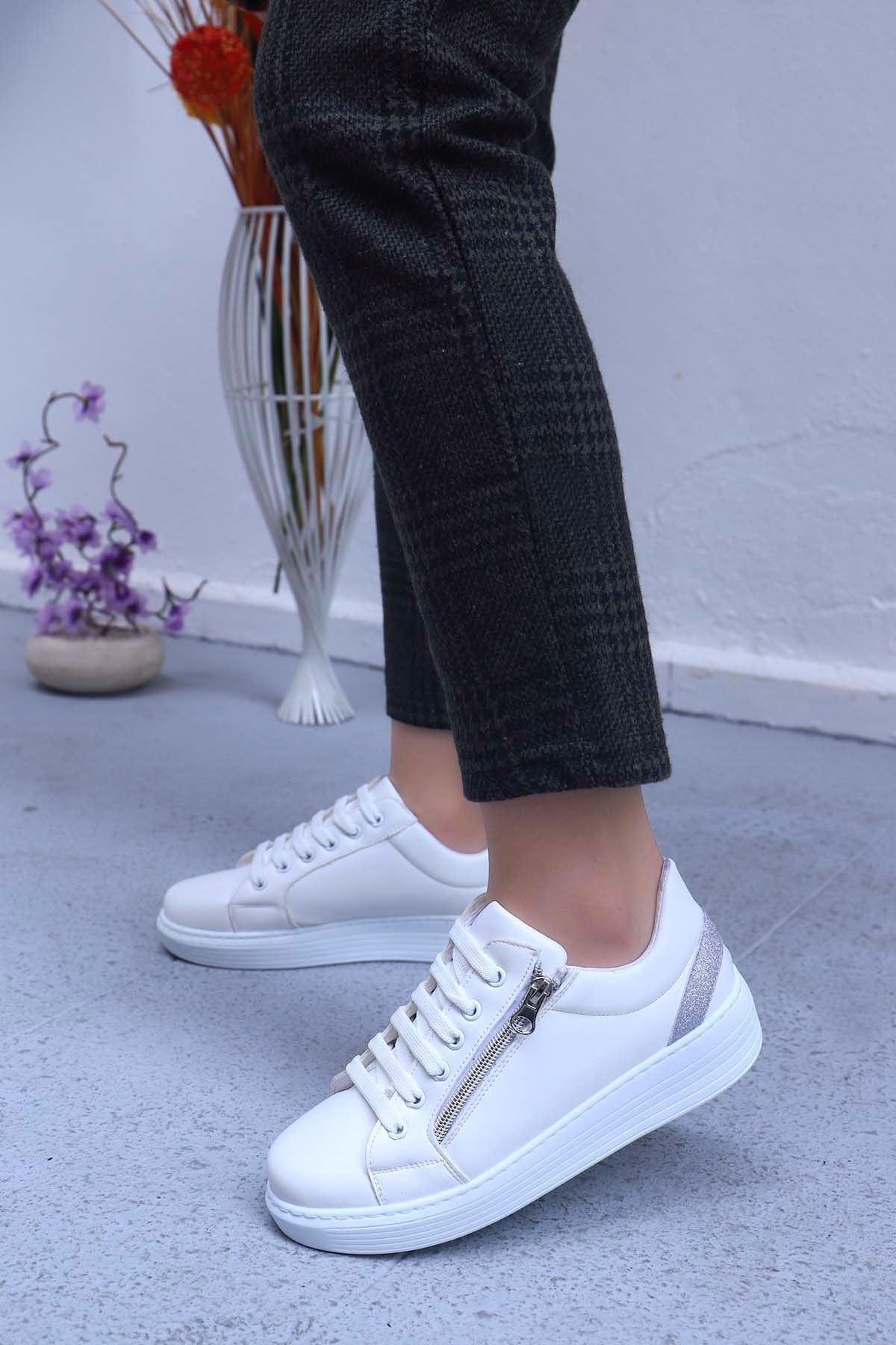 mami-4110 Spor Ayakkabı Fermuar Detay Beyaz Deri