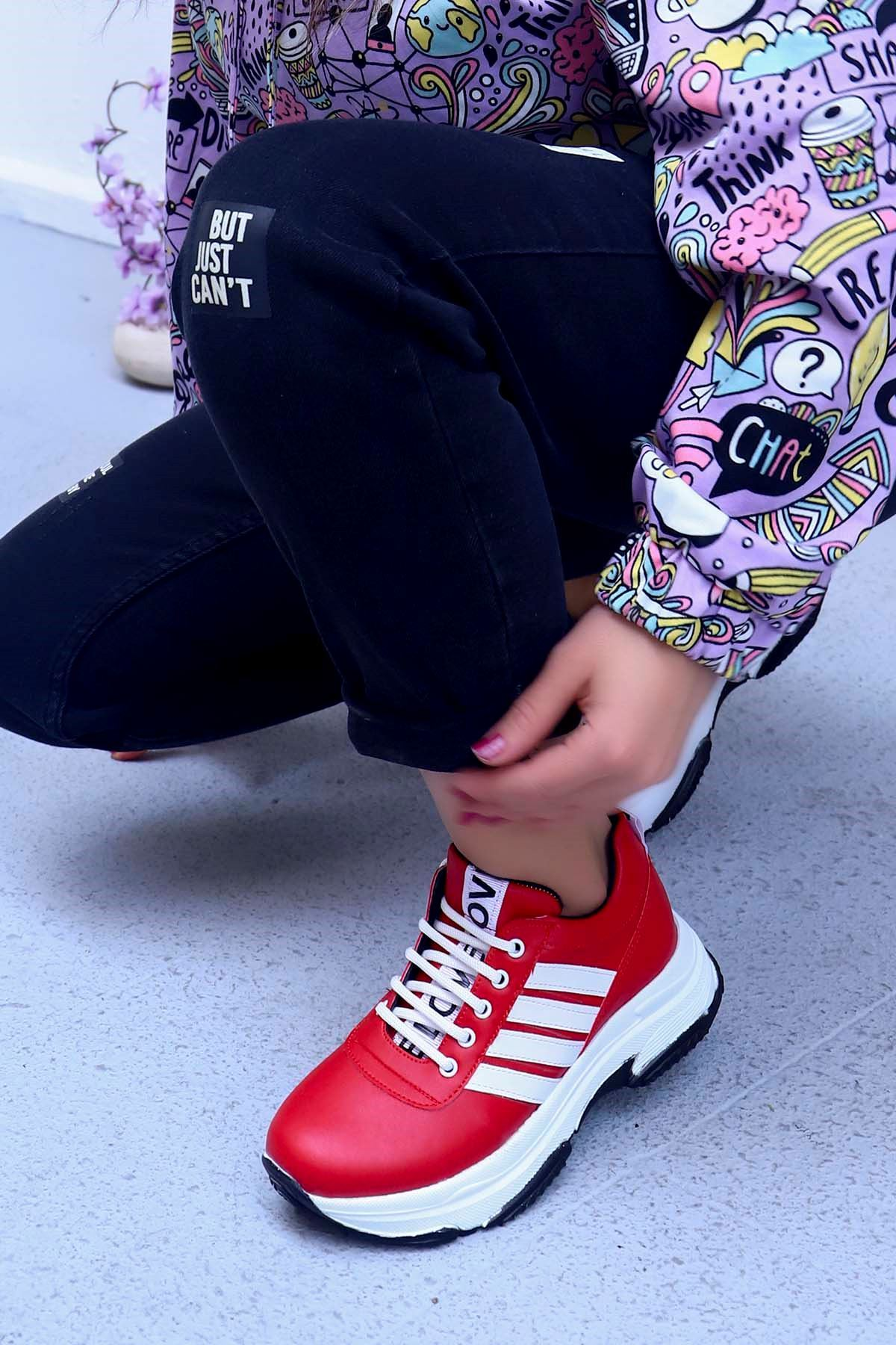 Helsinki Spor Ayakkabı Kırmızı Deri