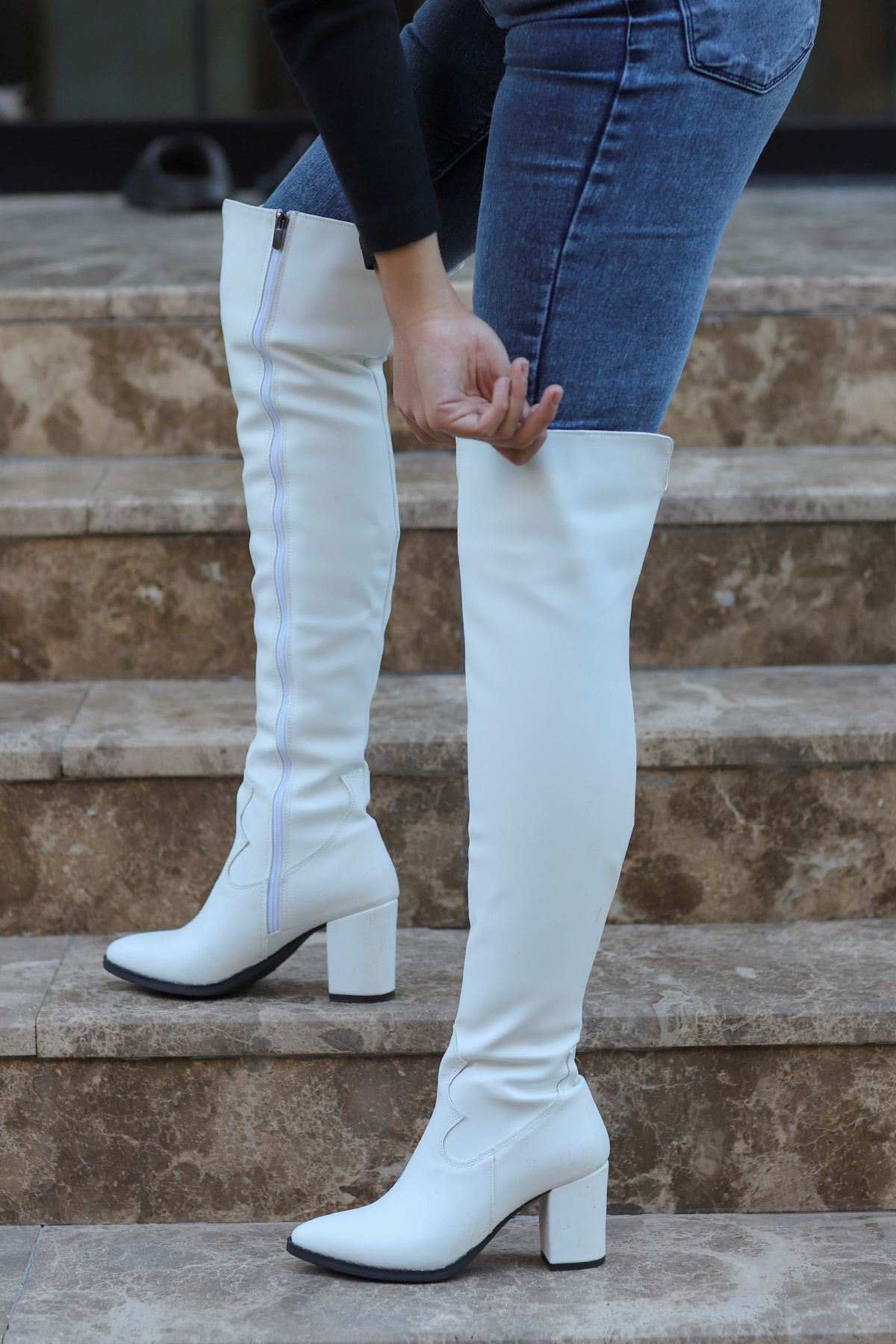 mami-7110 Kovboy Diz Üstü Çizme Beyaz Deri