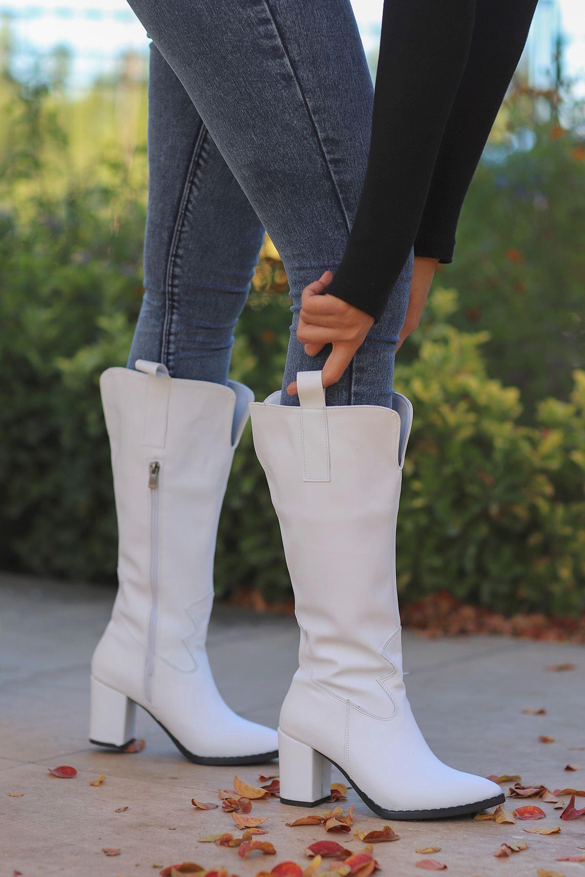 mami-2110 Kovboy Diz altı Çizme Beyaz Deri