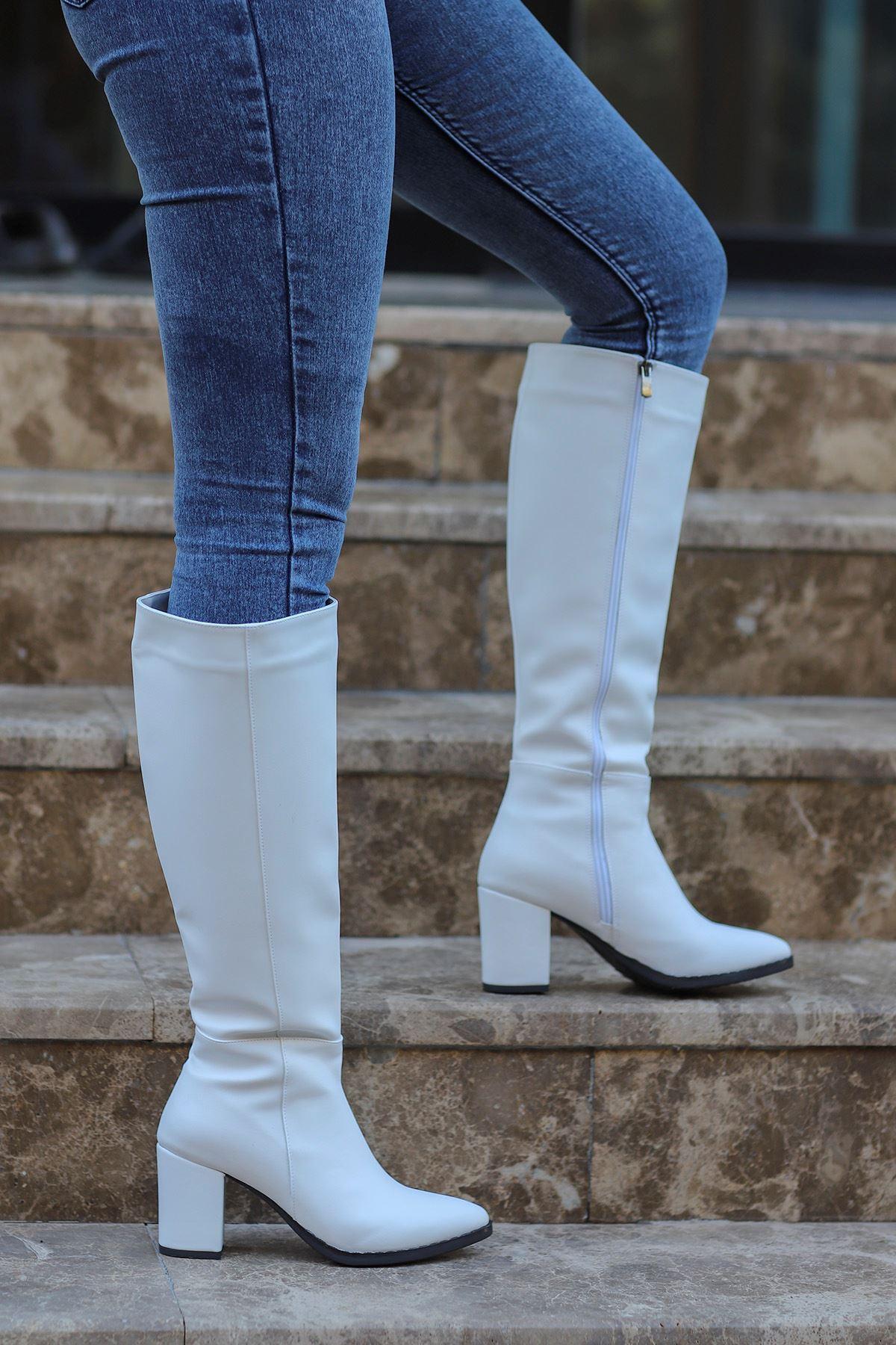 mami-5110 Diz Altı Çizme Beyaz Deri