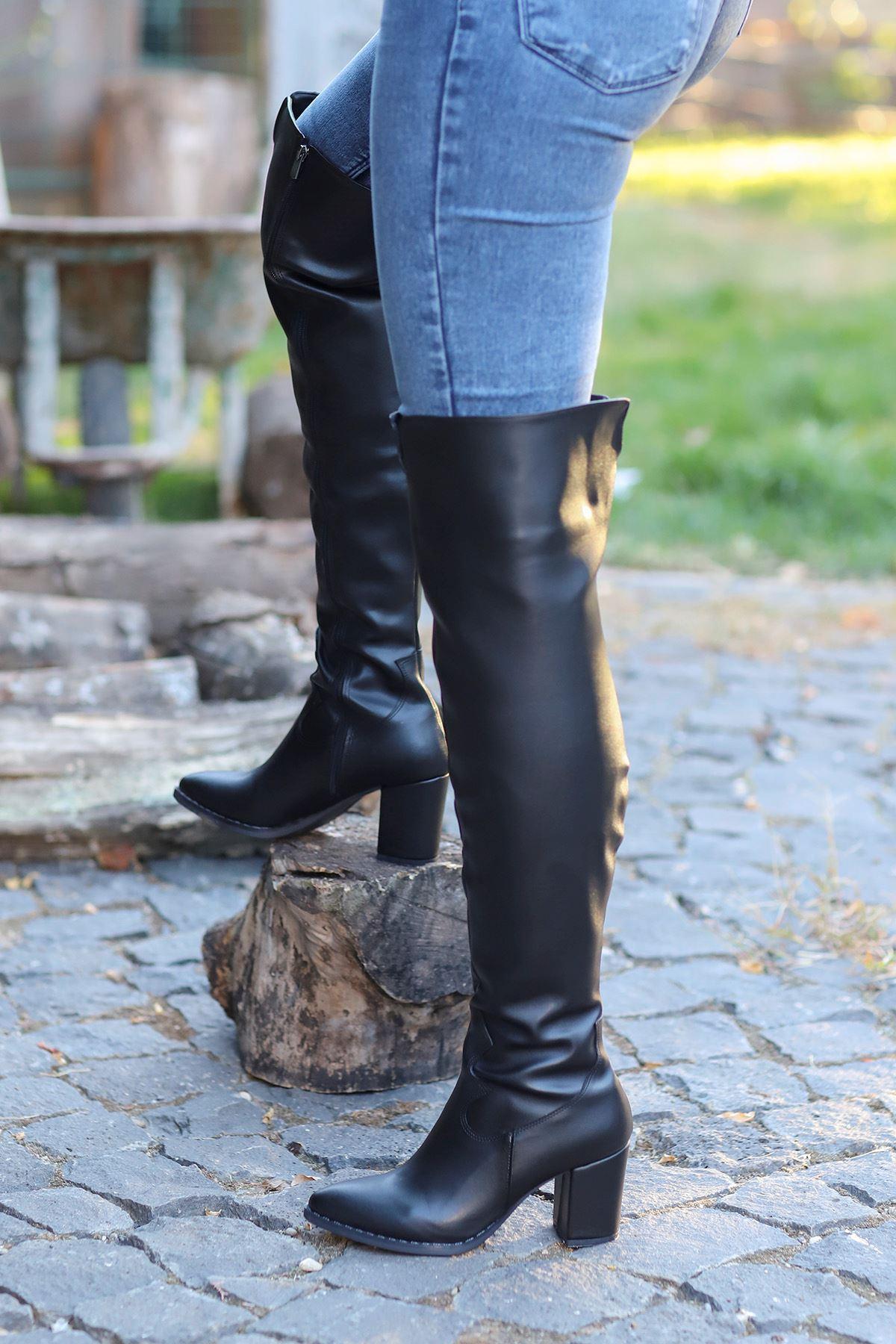 mami-7110 Kovboy Diz Üstü Çizme Siyah Deri