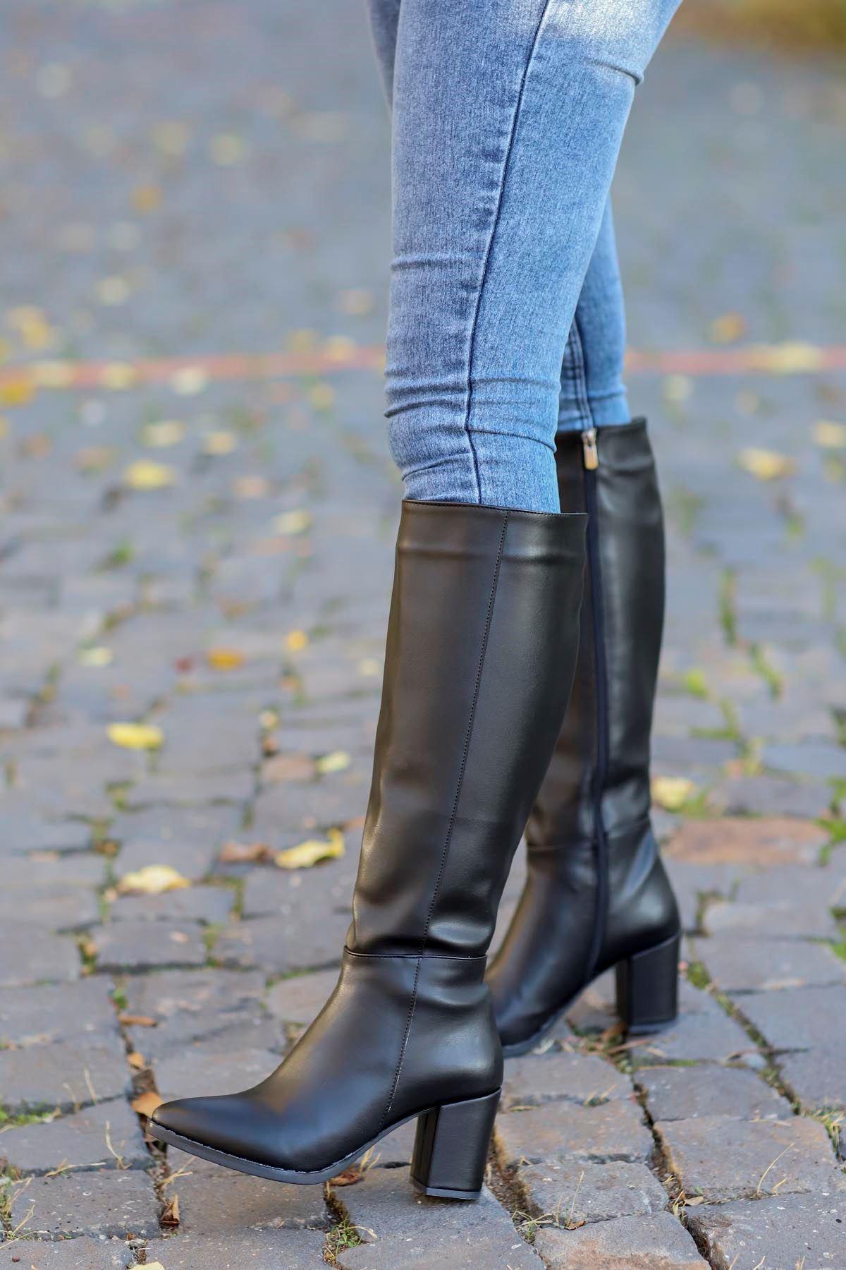 mami-5110 Diz Altı Çizme Siyah Deri