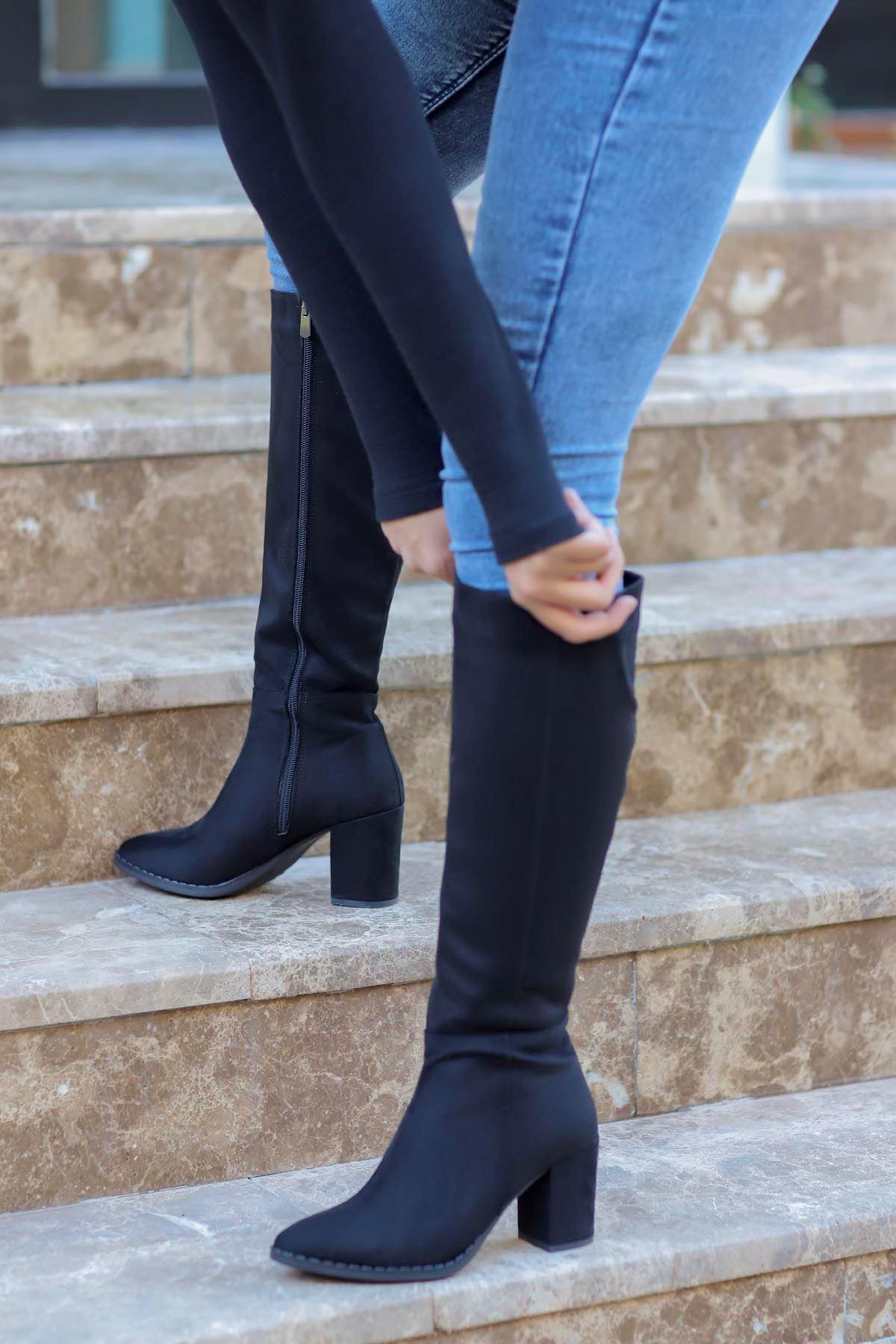 mami-5110 Diz Altı Çizme Siyah Süet