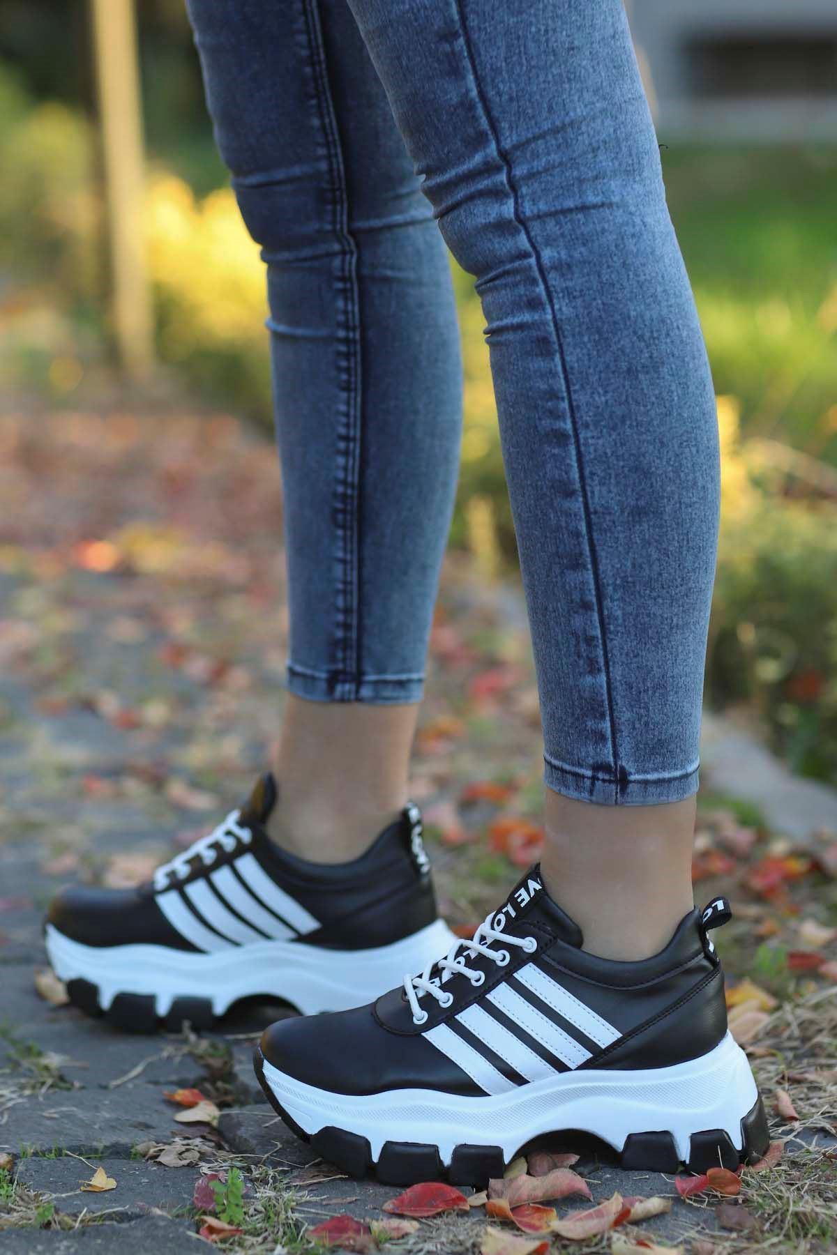 Frm-400 Tabanlı Spor Ayakkabı Siyah Deri Siyah Taban