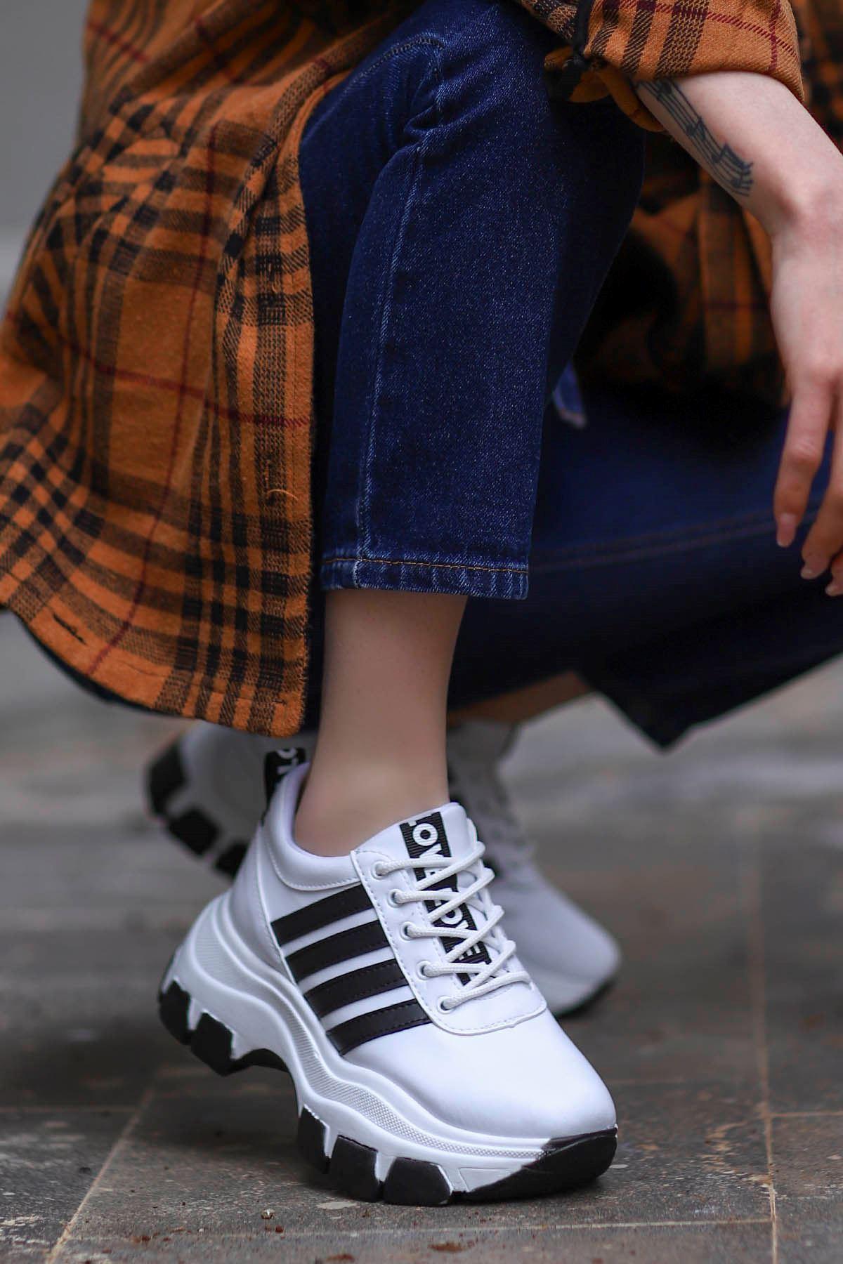 Frm-400 Tabanlı Spor Ayakkabı Beyaz Deri Siyah Taban