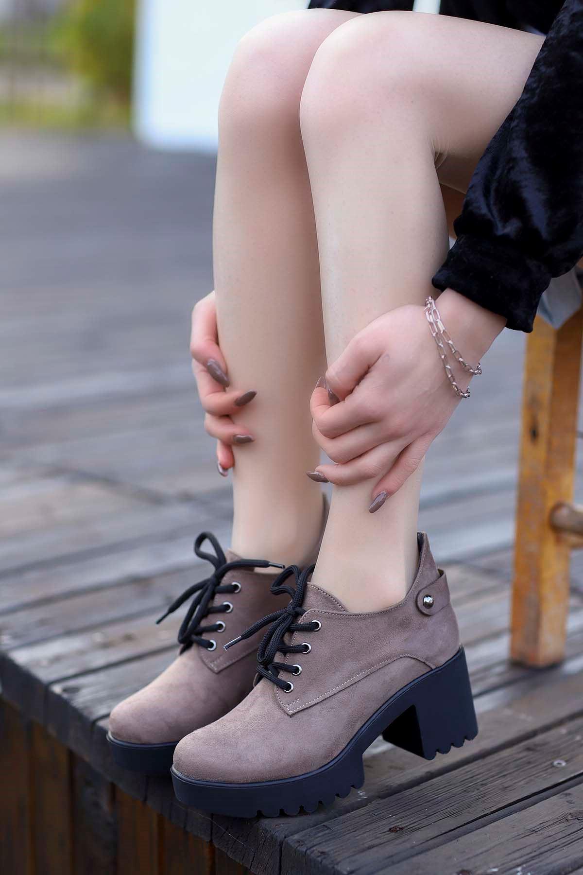 Mami-5654 Topuklu Ayakkabı Vizon Süet