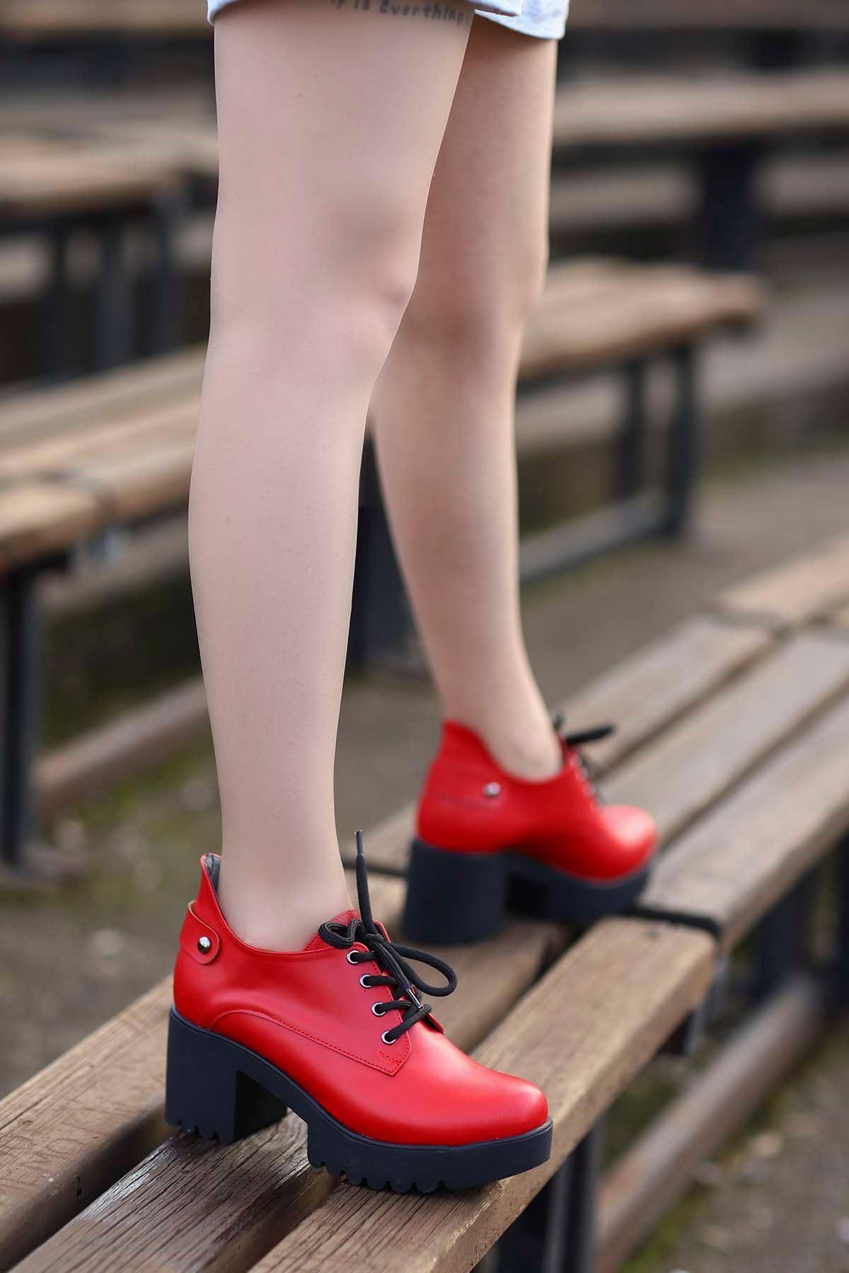 Mami-5654 Topuklu Ayakkabı Kırmızı Deri