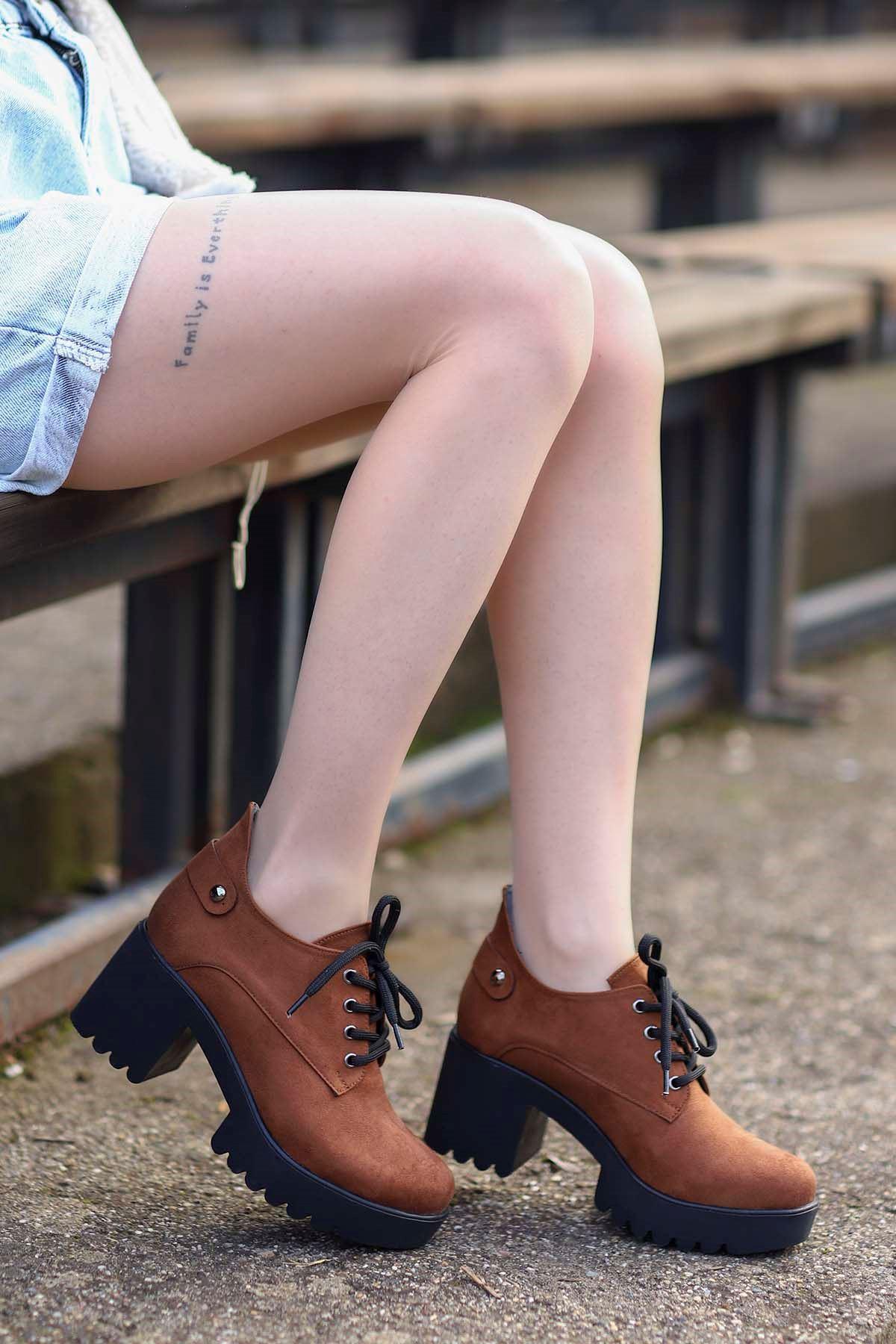 Mami-5654 Topuklu Ayakkabı Taba Süet