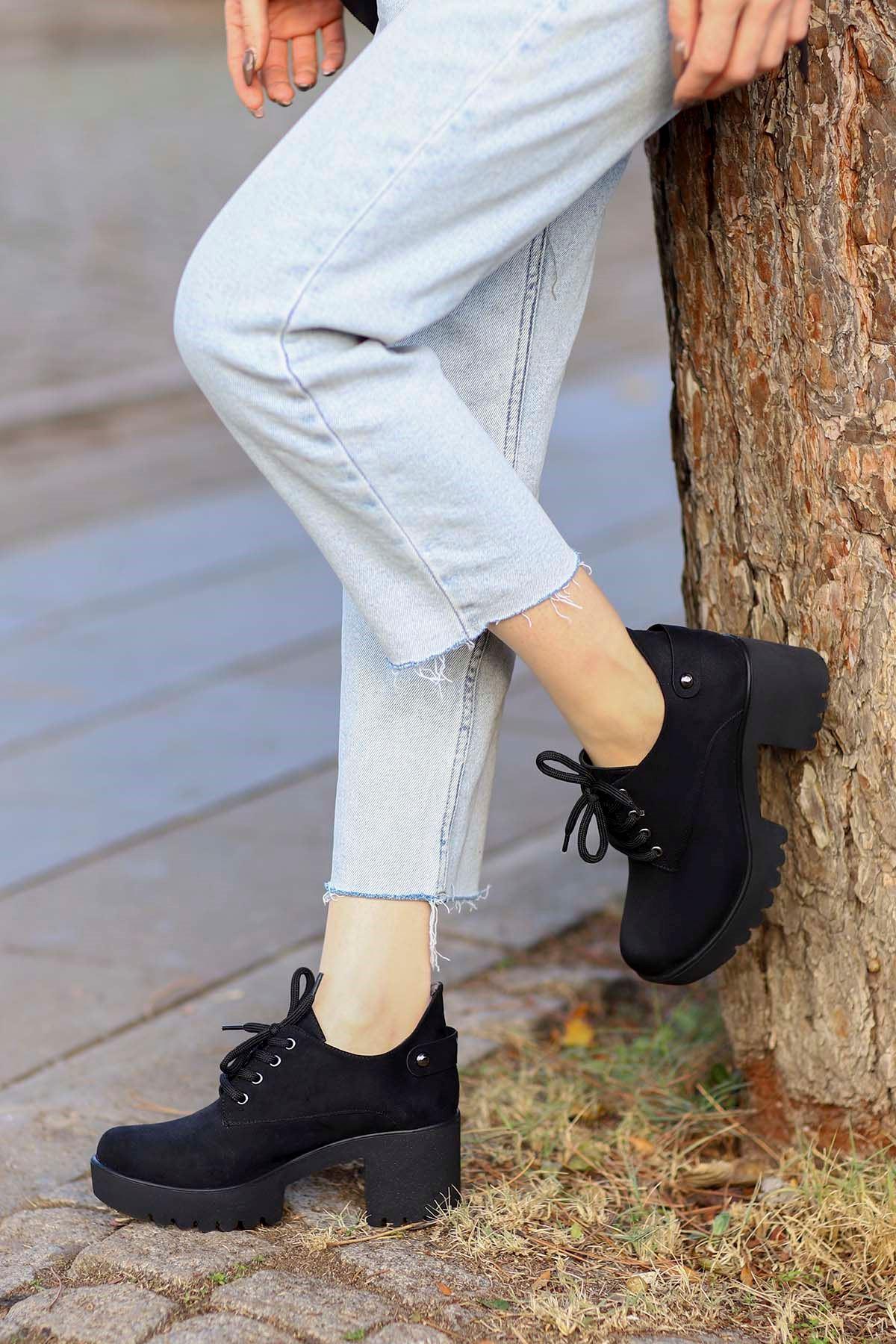 Mami-5654 Topuklu Ayakkabı Siyah Süet