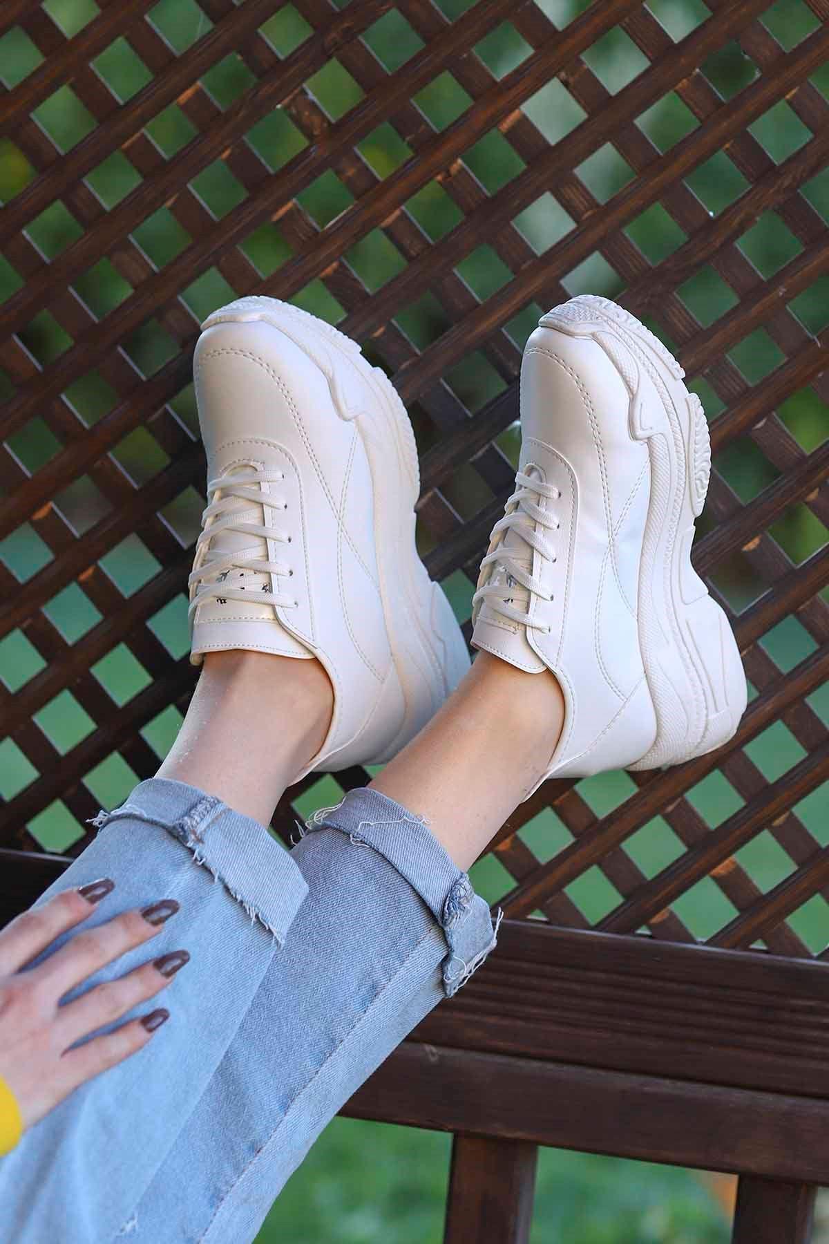 Snz-701 Tabanlı Spor Ayakkabı Beyaz Deri