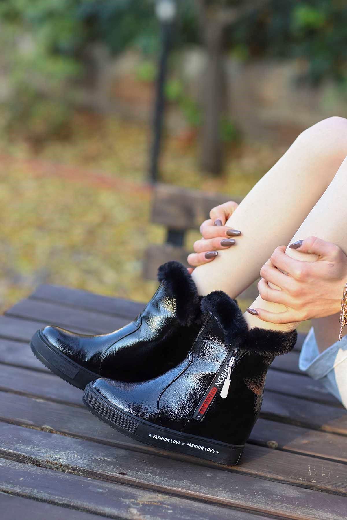 mami-126 Gizli Topuk Fashion Bot Siyah Rugan