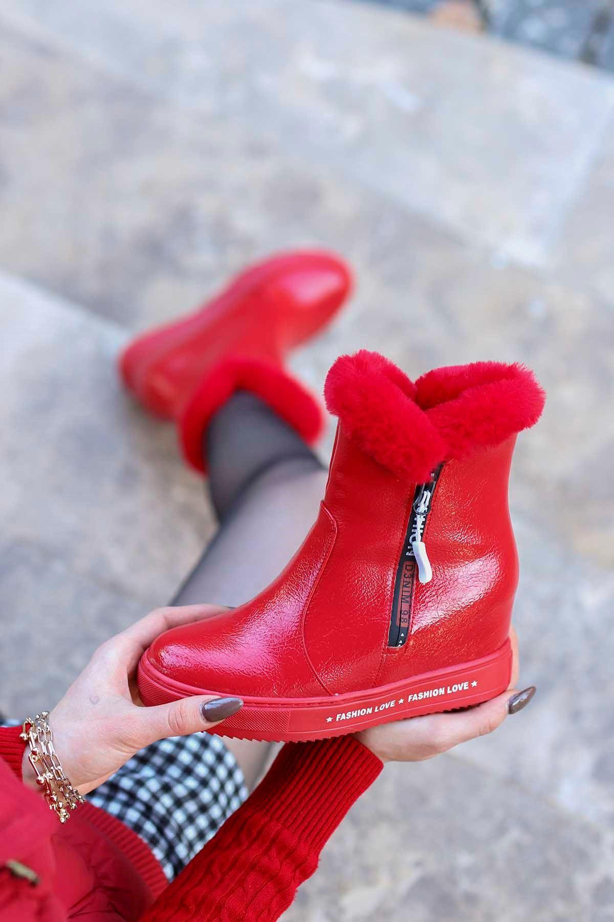mami-126 Gizli Topuk Fashion Bot Kırmızı Rugan