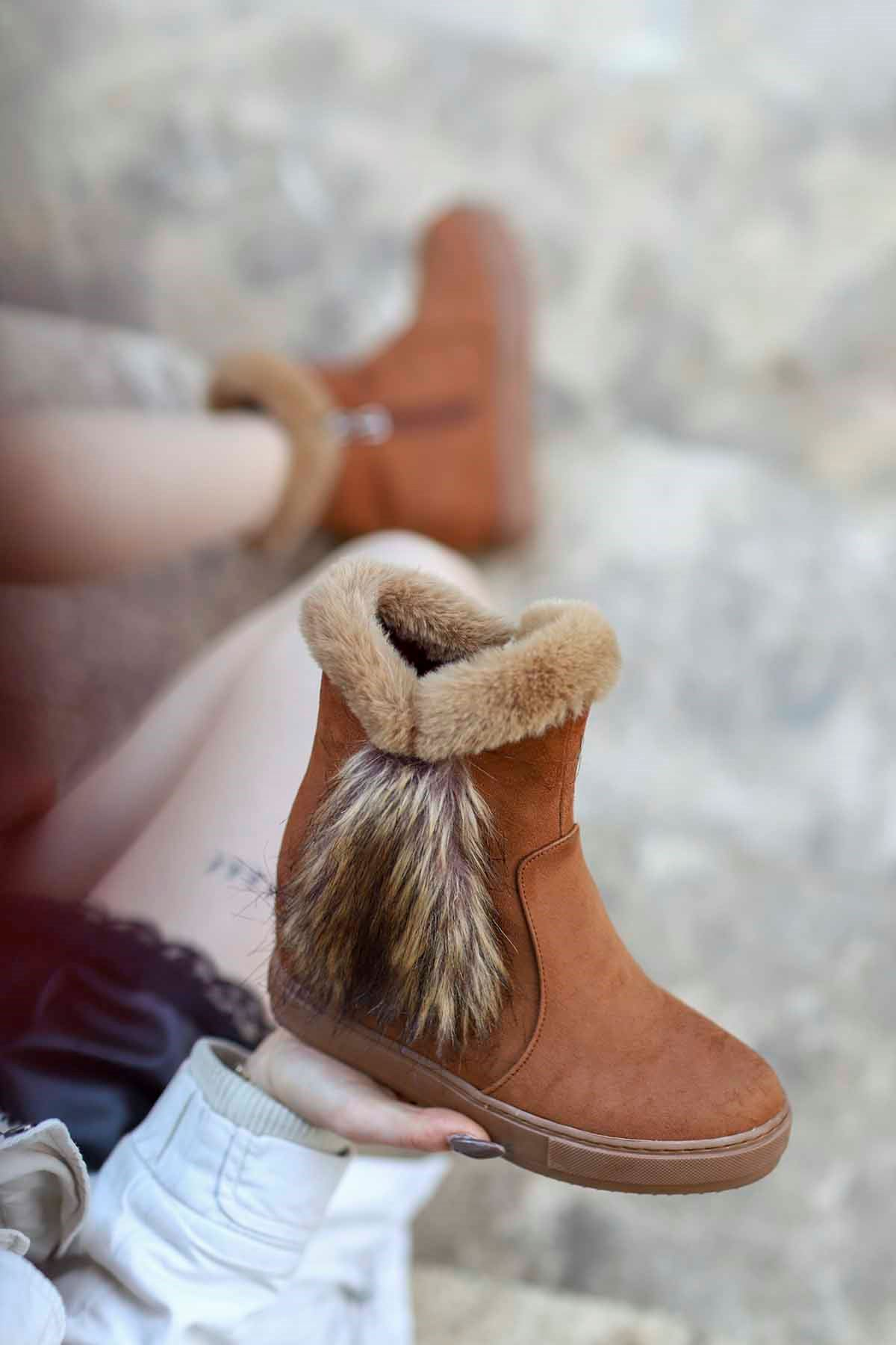 mami-136 Gizli Topuk Fashion Bot Taba Süet