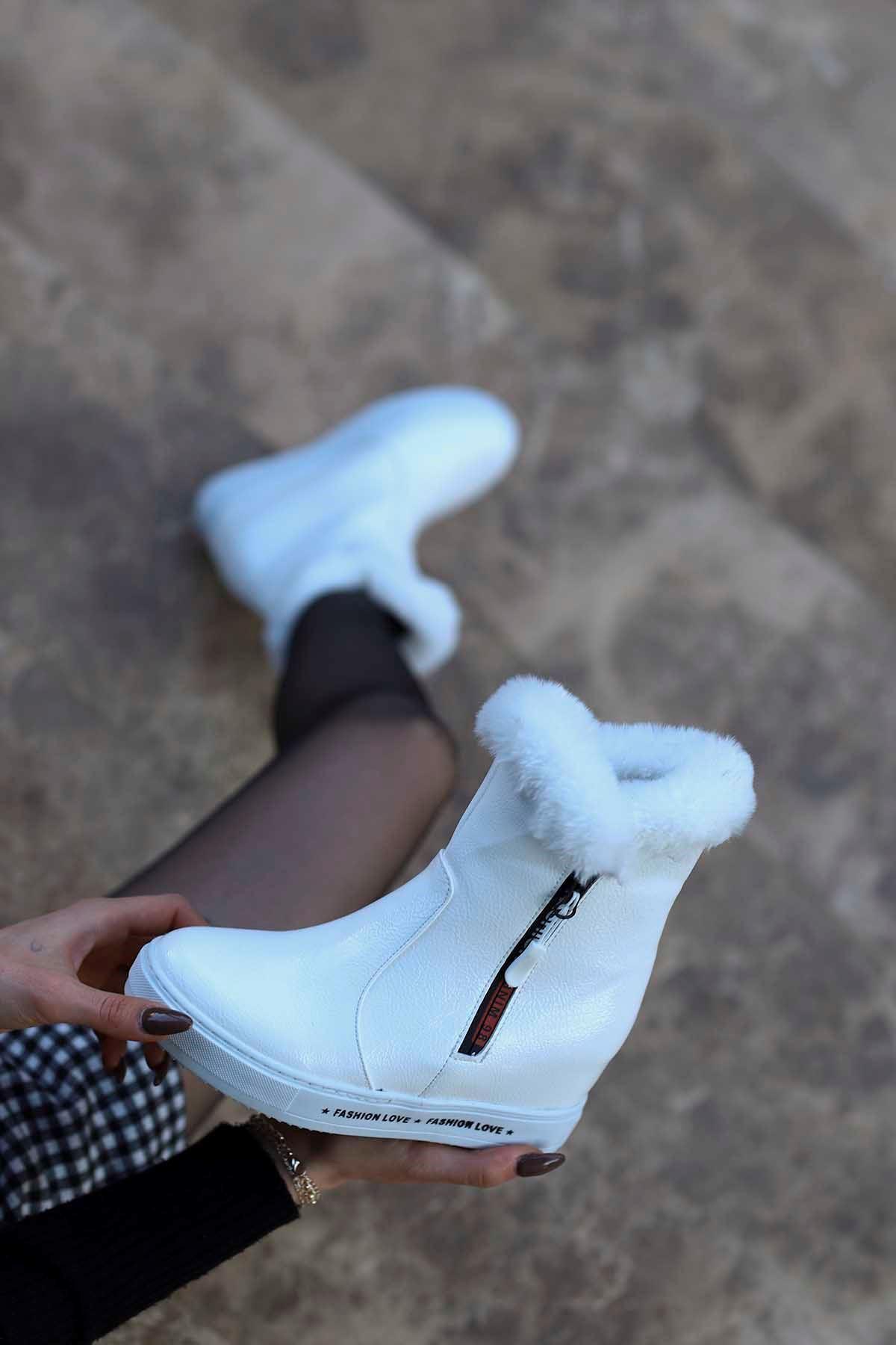 mami-126 Gizli Topuk Fashion Bot Beyaz Rugan