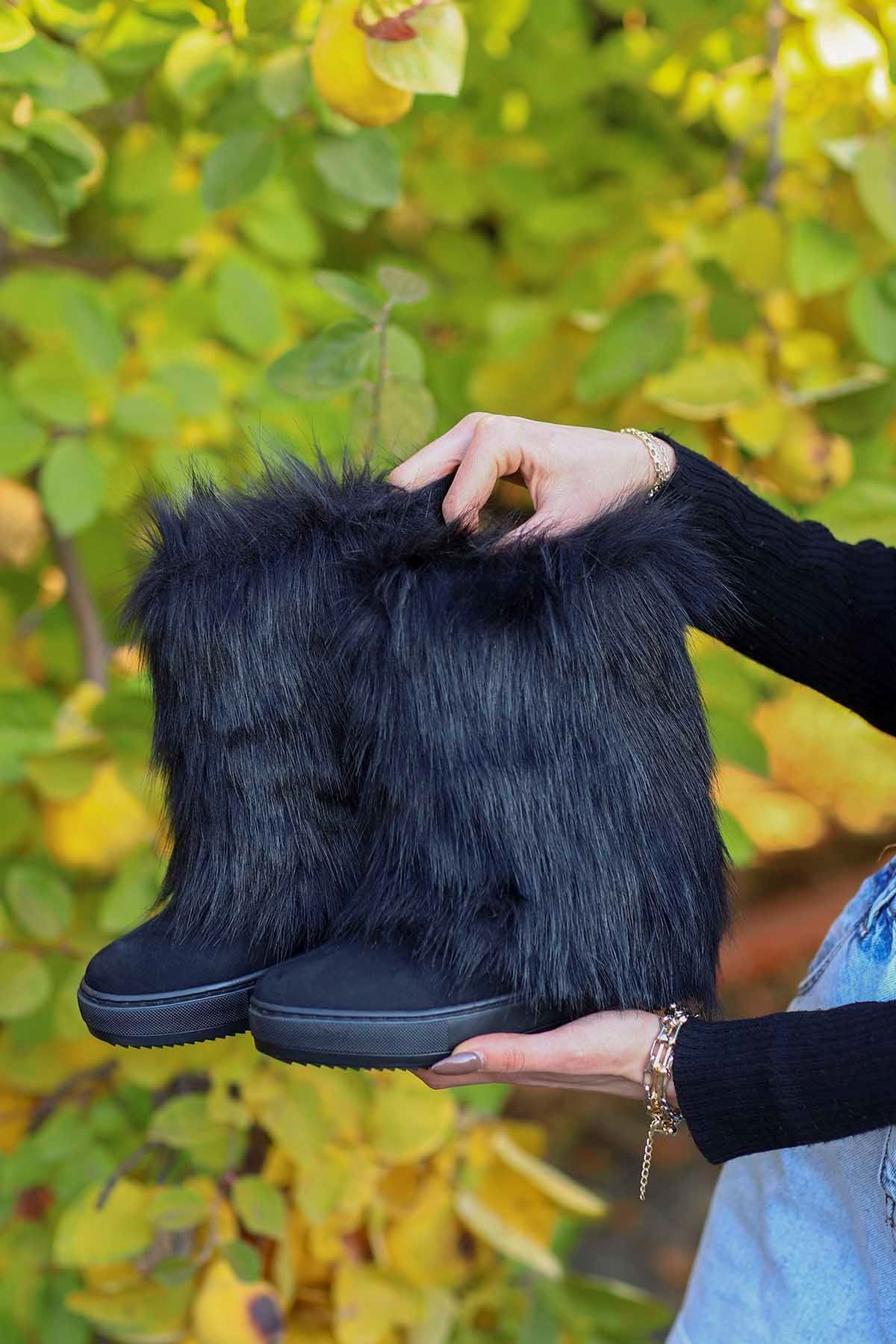 mami-116 Gizli Topuk Kürklü Bot Siyah Süet