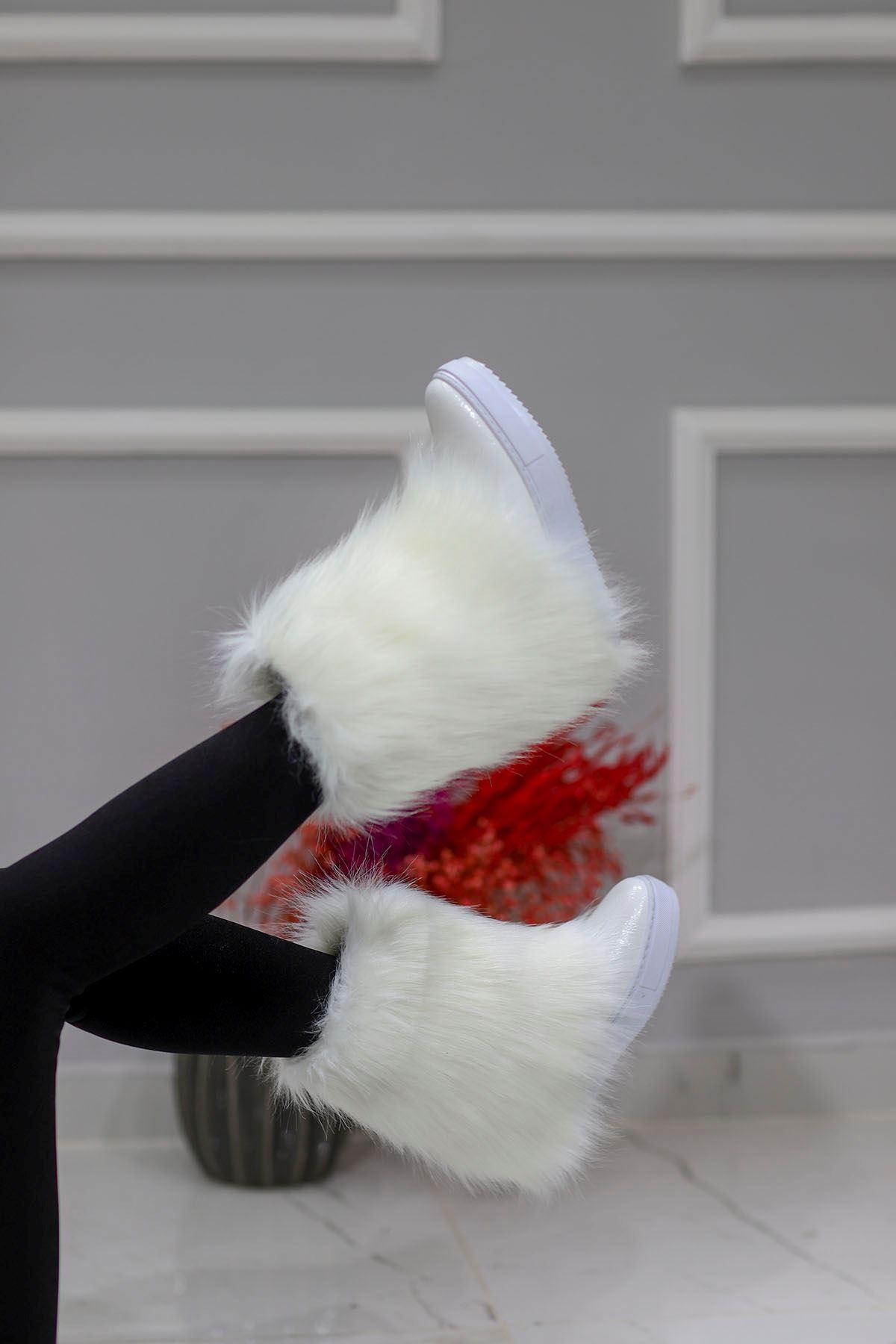 mami-116 Gizli Topuk Kürklü Bot Beyaz Deri