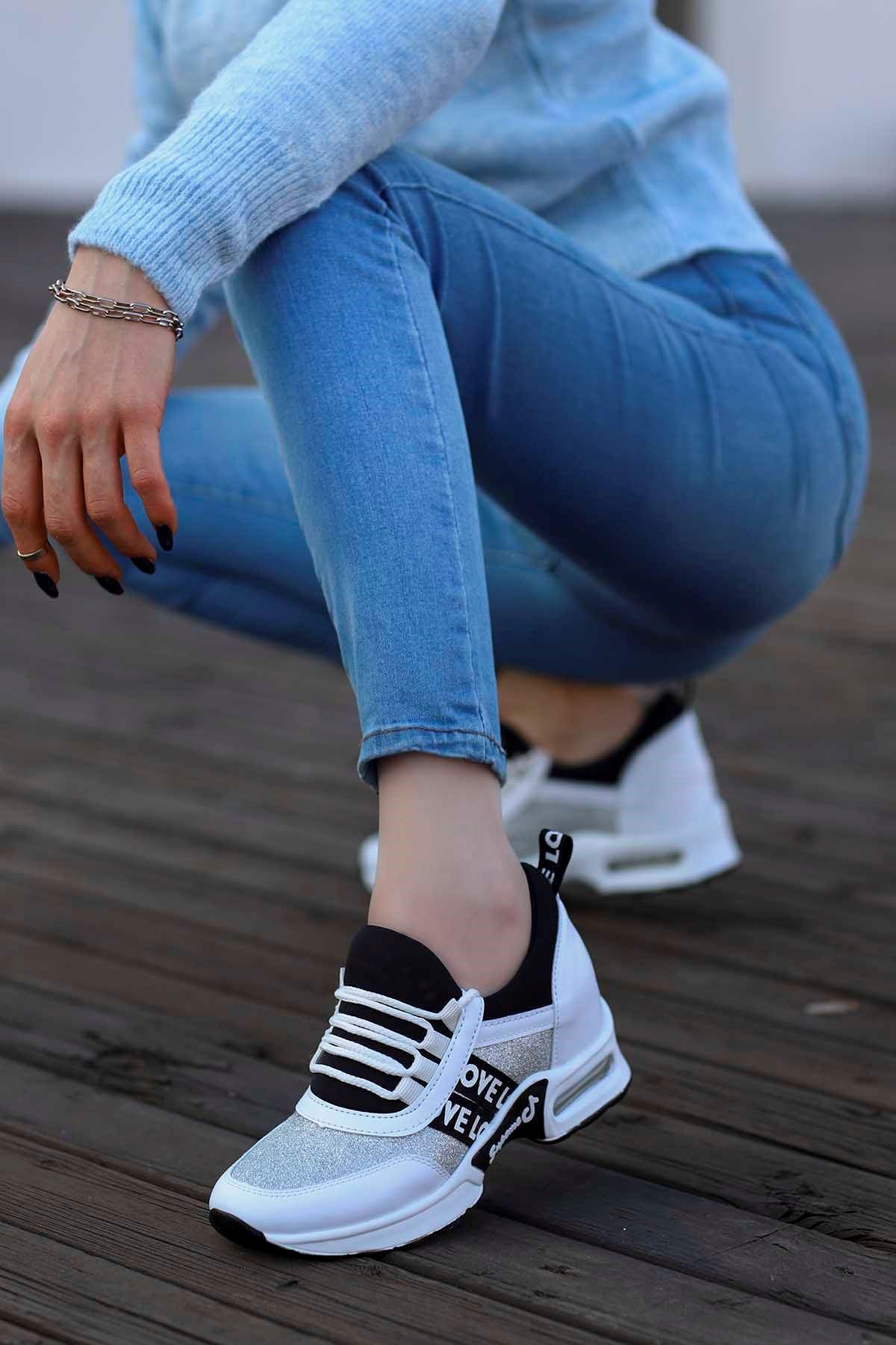 Frm-300 Gizli Topuk Spor Ayakkabı Beyaz