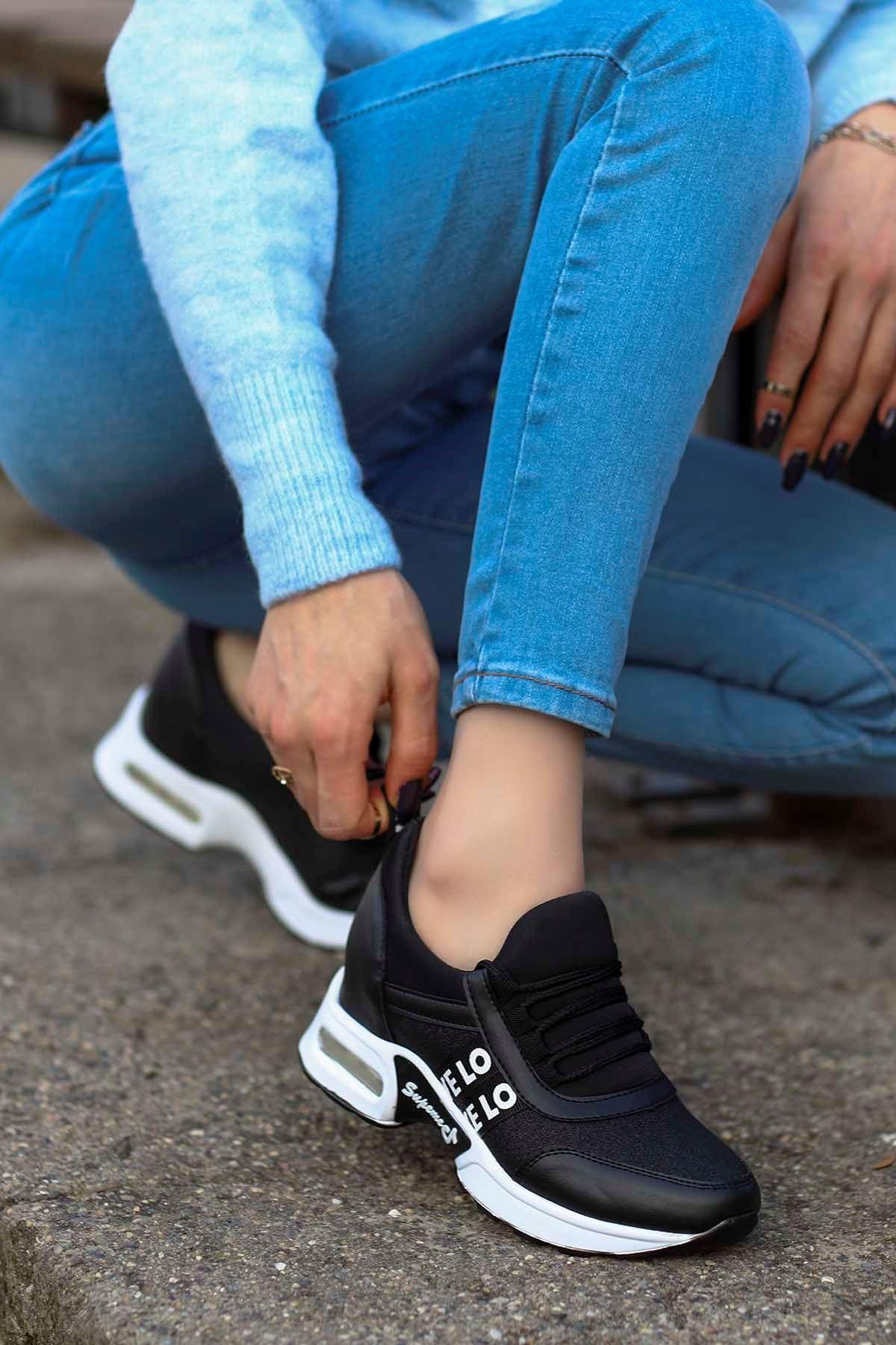 Frm-300 Gizli Topuk Spor Ayakkabı Siyah