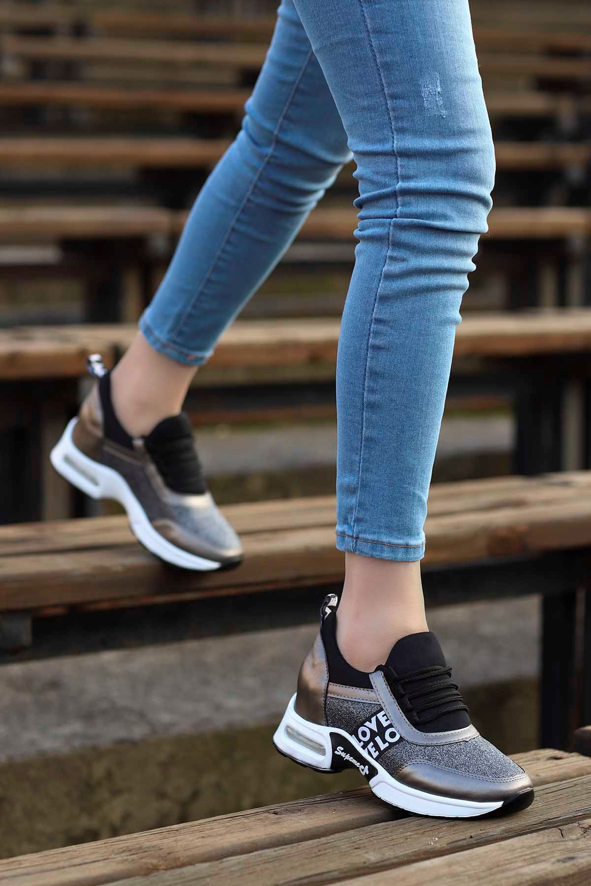 Frm-300 Gizli Topuk Spor Ayakkabı Platin