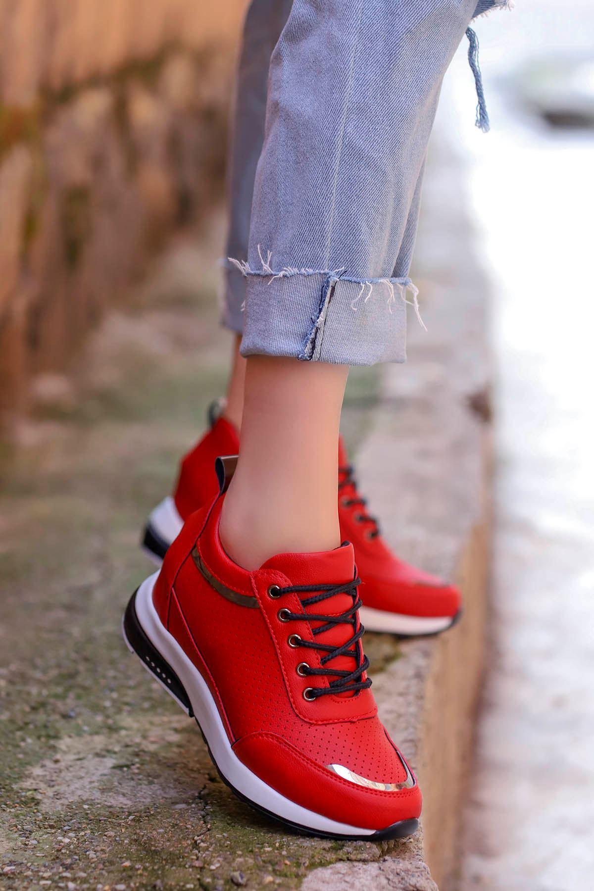Frm-517 Gizli Topuk Spor Ayakkabı Kırımızı Deri