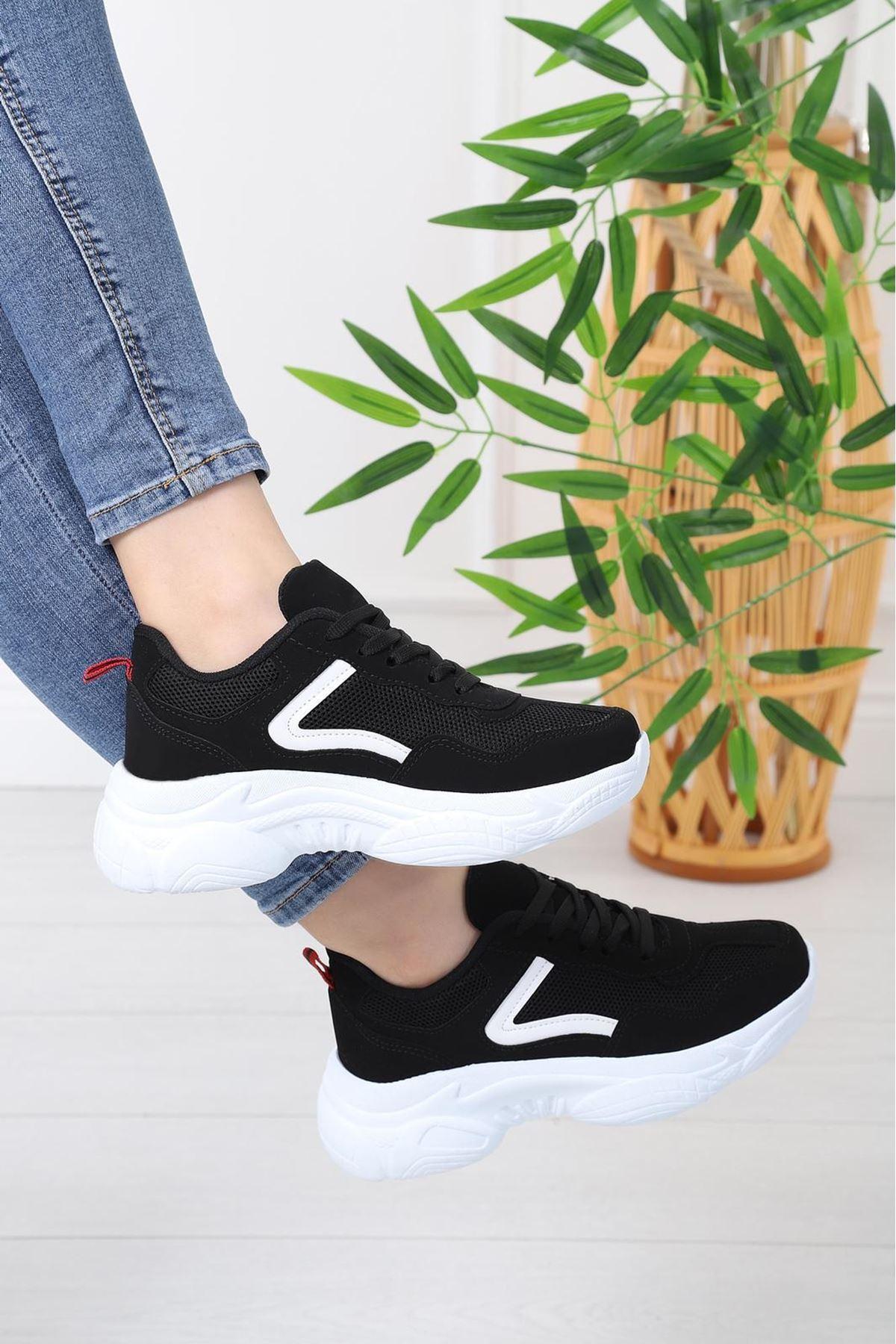 miya Spor Ayakkabı Siyah Süet Beyaz Taban