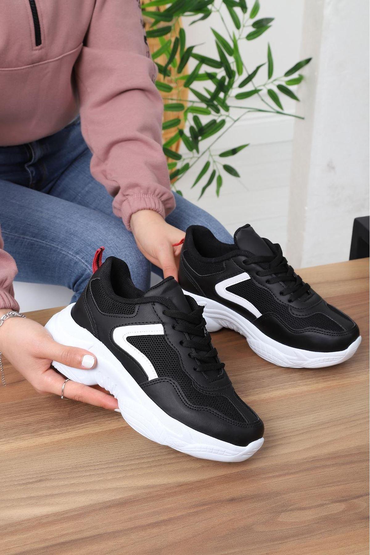 miya Spor Ayakkabı Siyah Deri Beyaz Taban