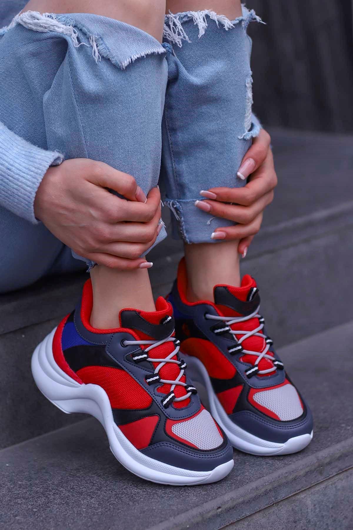 Tny-01 Tabanlı Spor Ayakkabı Siyah Kırmızı