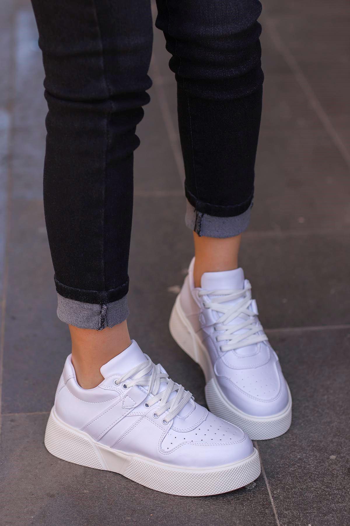 frm-021 Tabanlı spor Ayakkabı Beyaz Deri