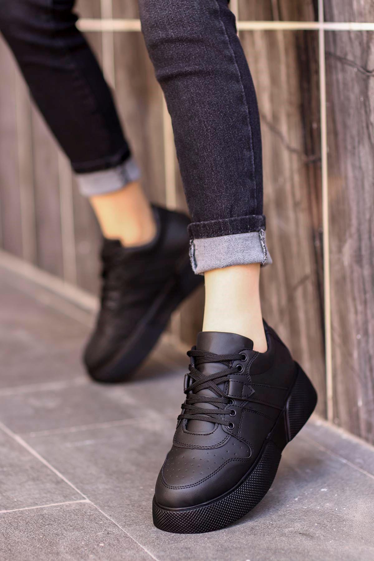 frm-021 Tabanlı spor Ayakkabı Siyah Deri