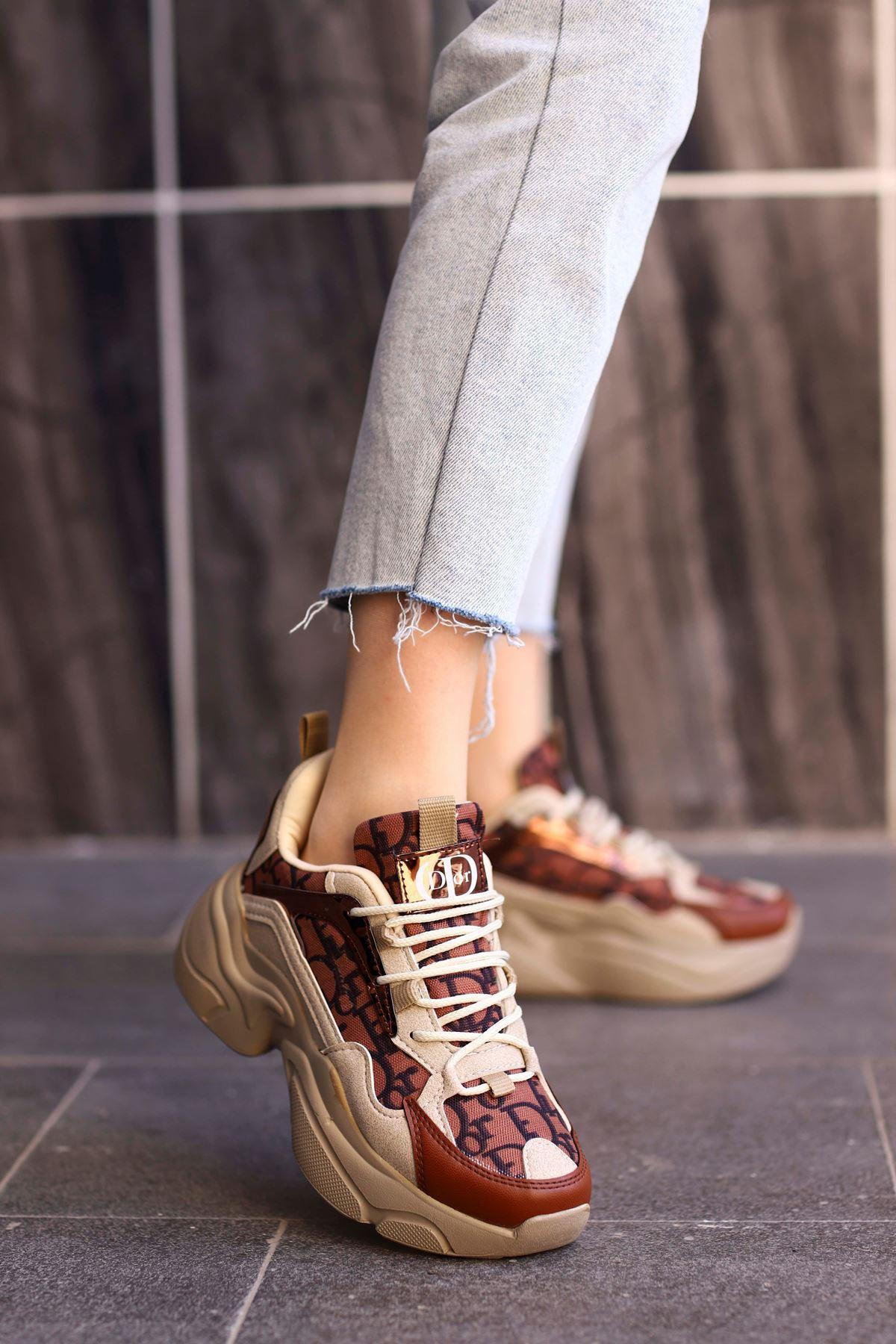 DyR-Tabanlı Spor Ayakkabı Bej-Kahve