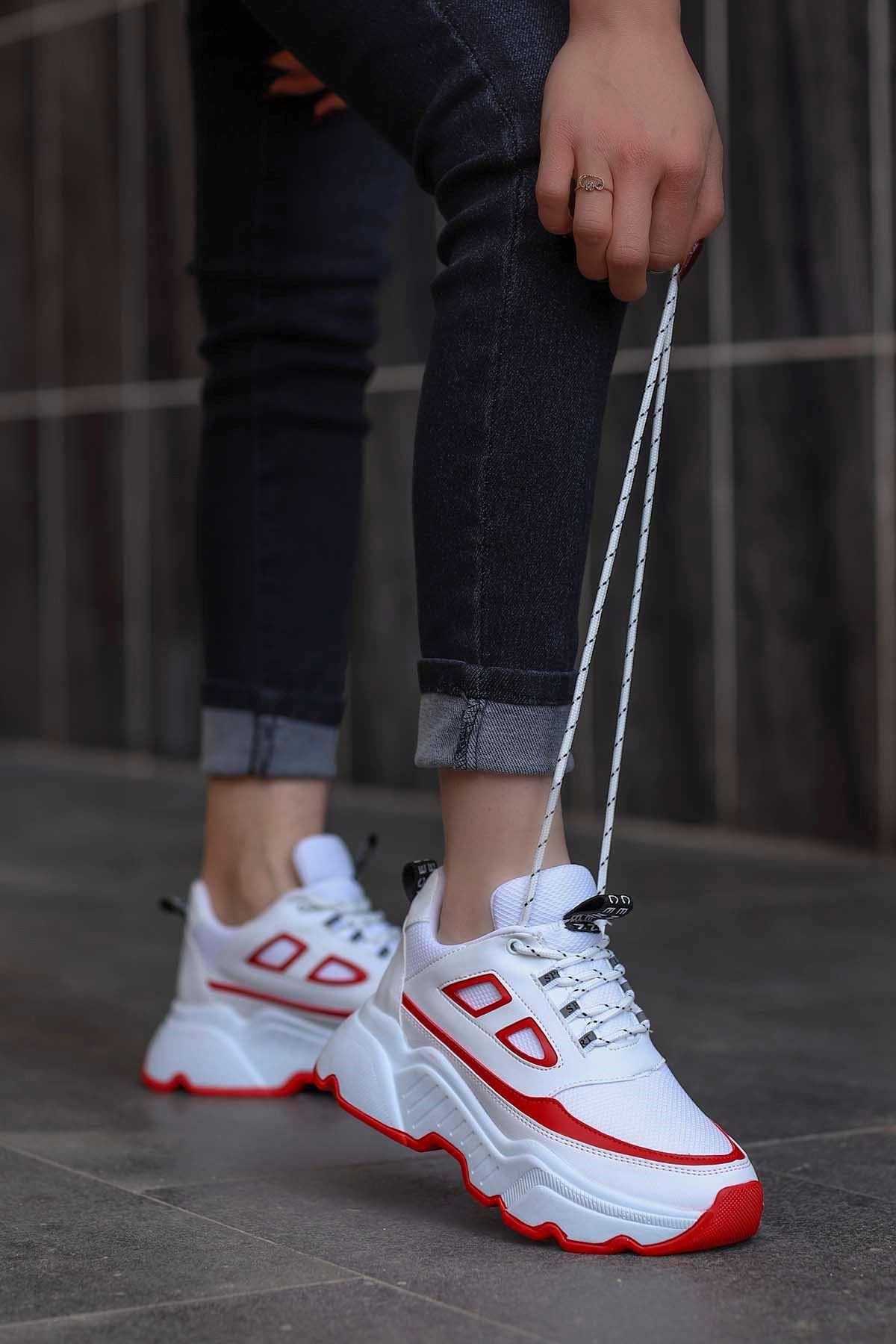 Frm-107 Spor Ayakkabı Beyaz Kırmızı Detay