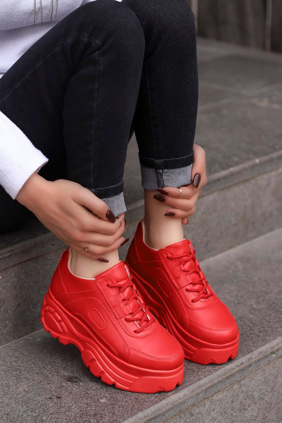 Peri Tabanlı Spor Ayakkabı Kırmızı Deri